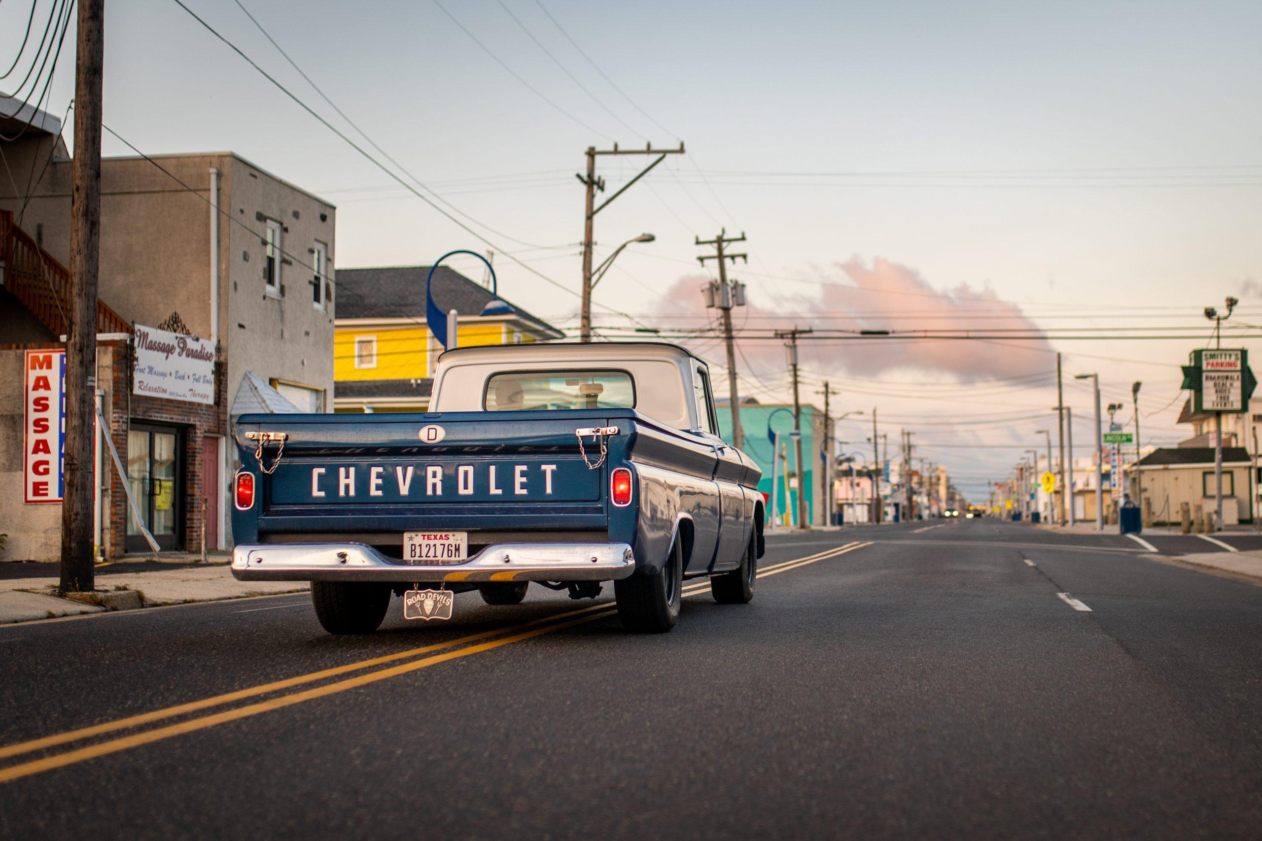 chevrolet hot rod pickup rear three-quarter street action