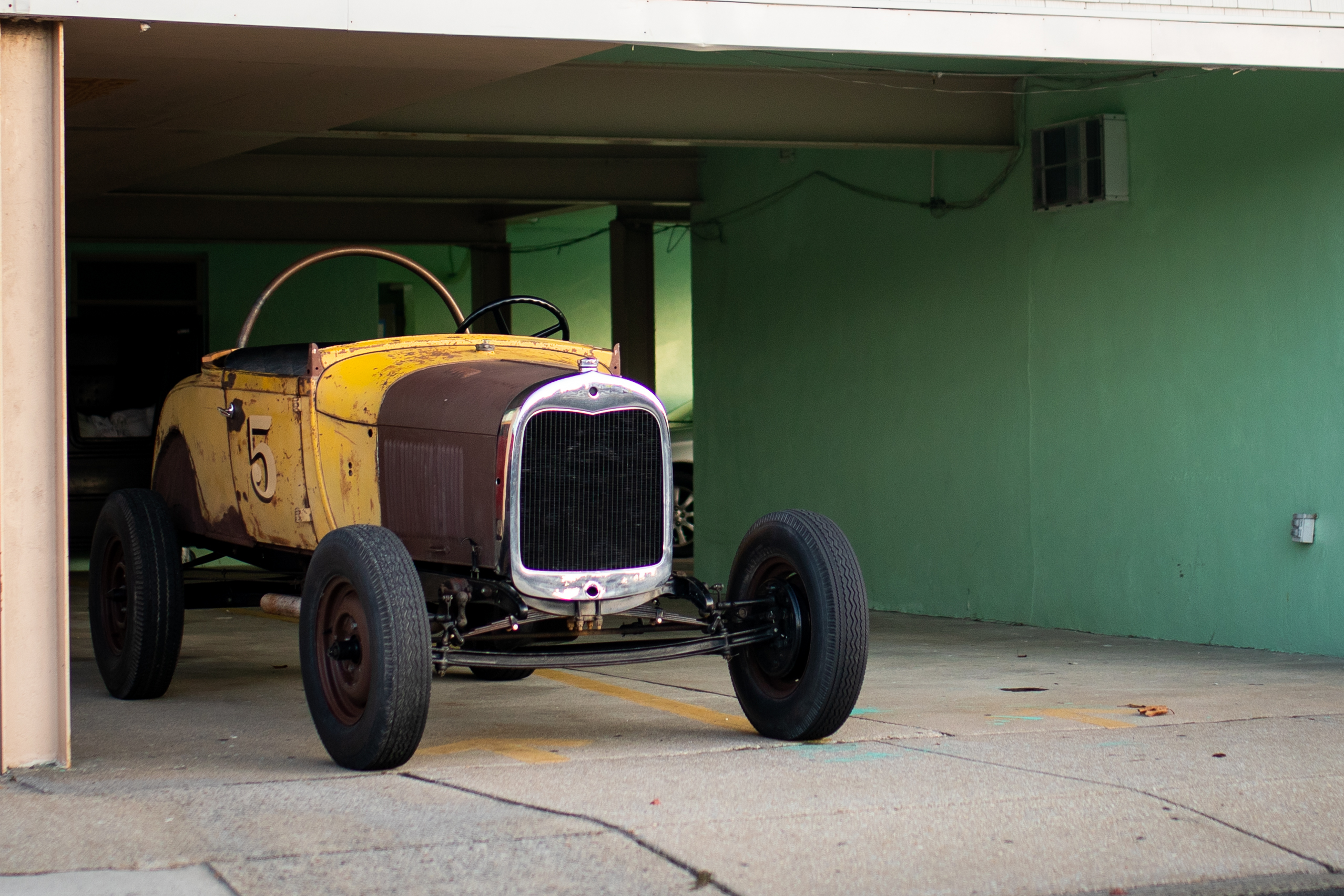 hot rod racer in garage