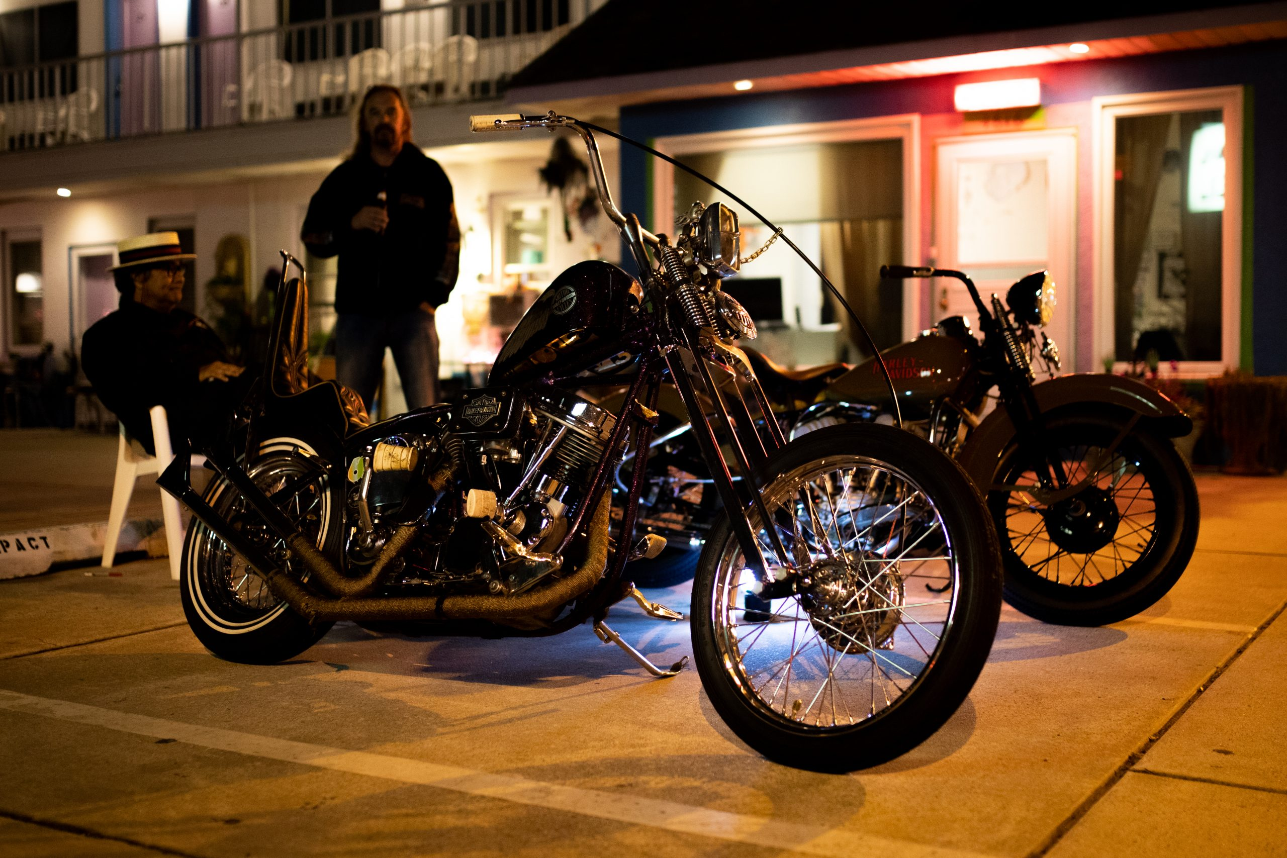 motorbike front three-quarter at night