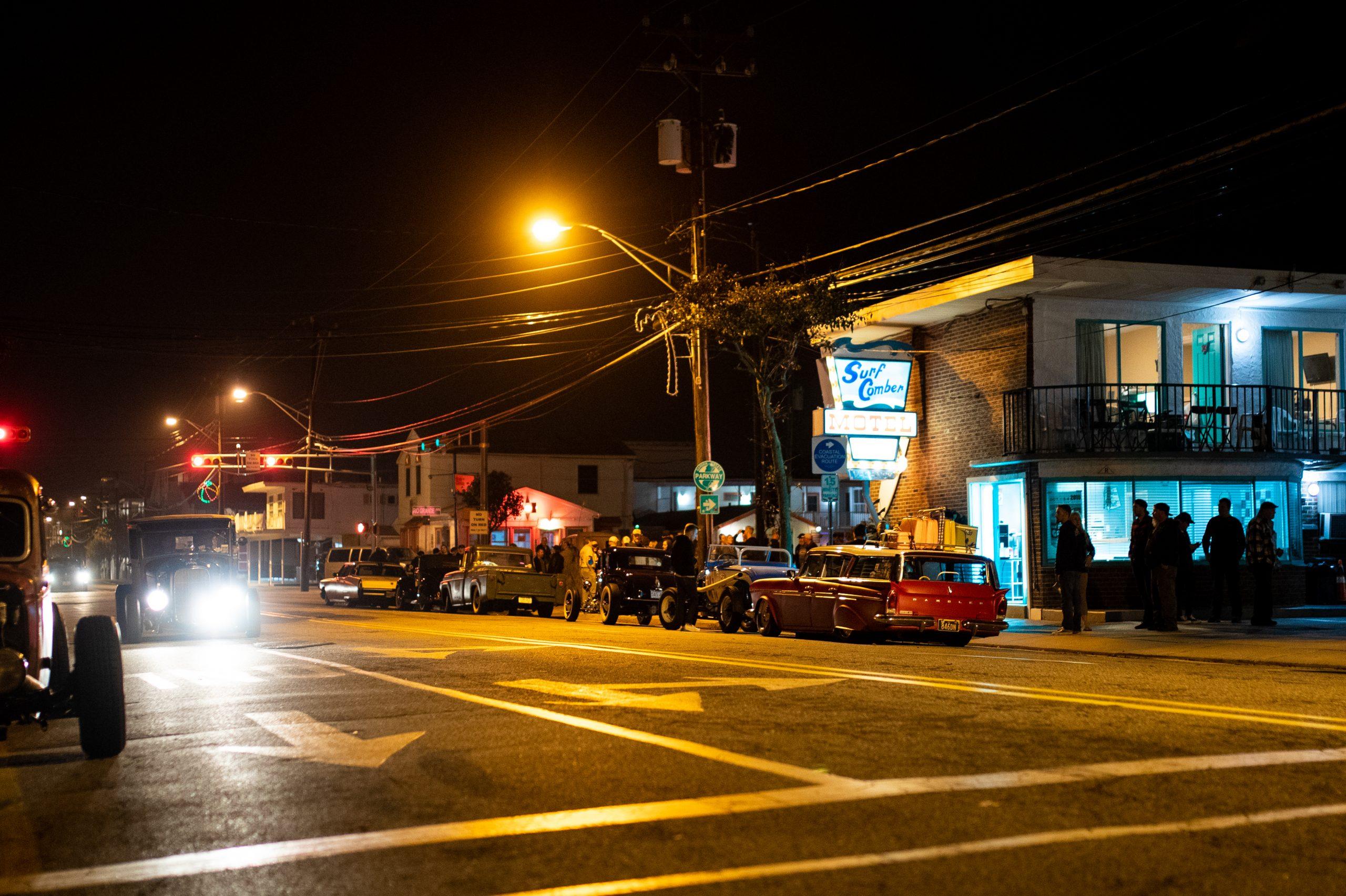 hot rod lined street at night