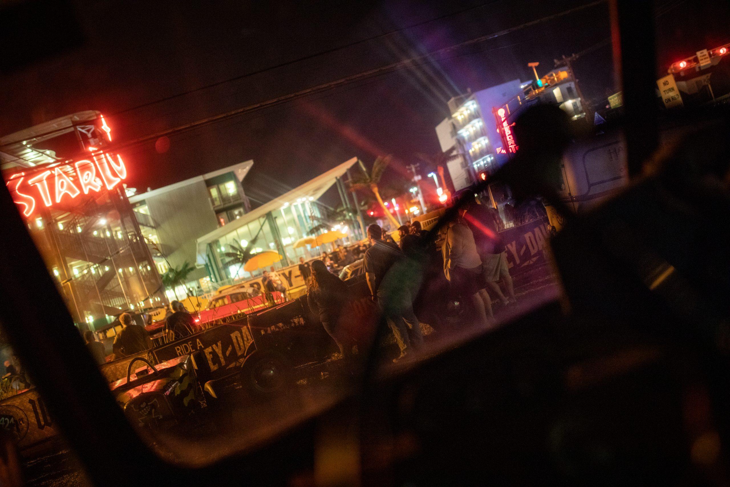 night crowd neon lights