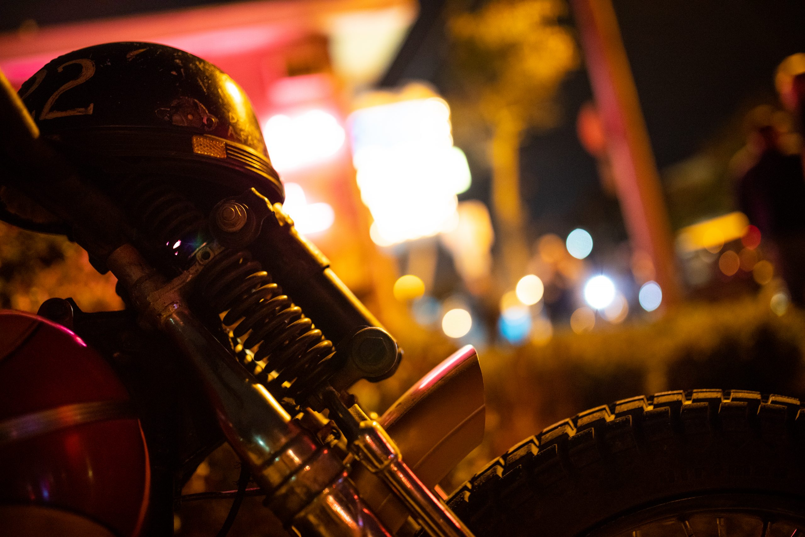 motorbike at night front fork