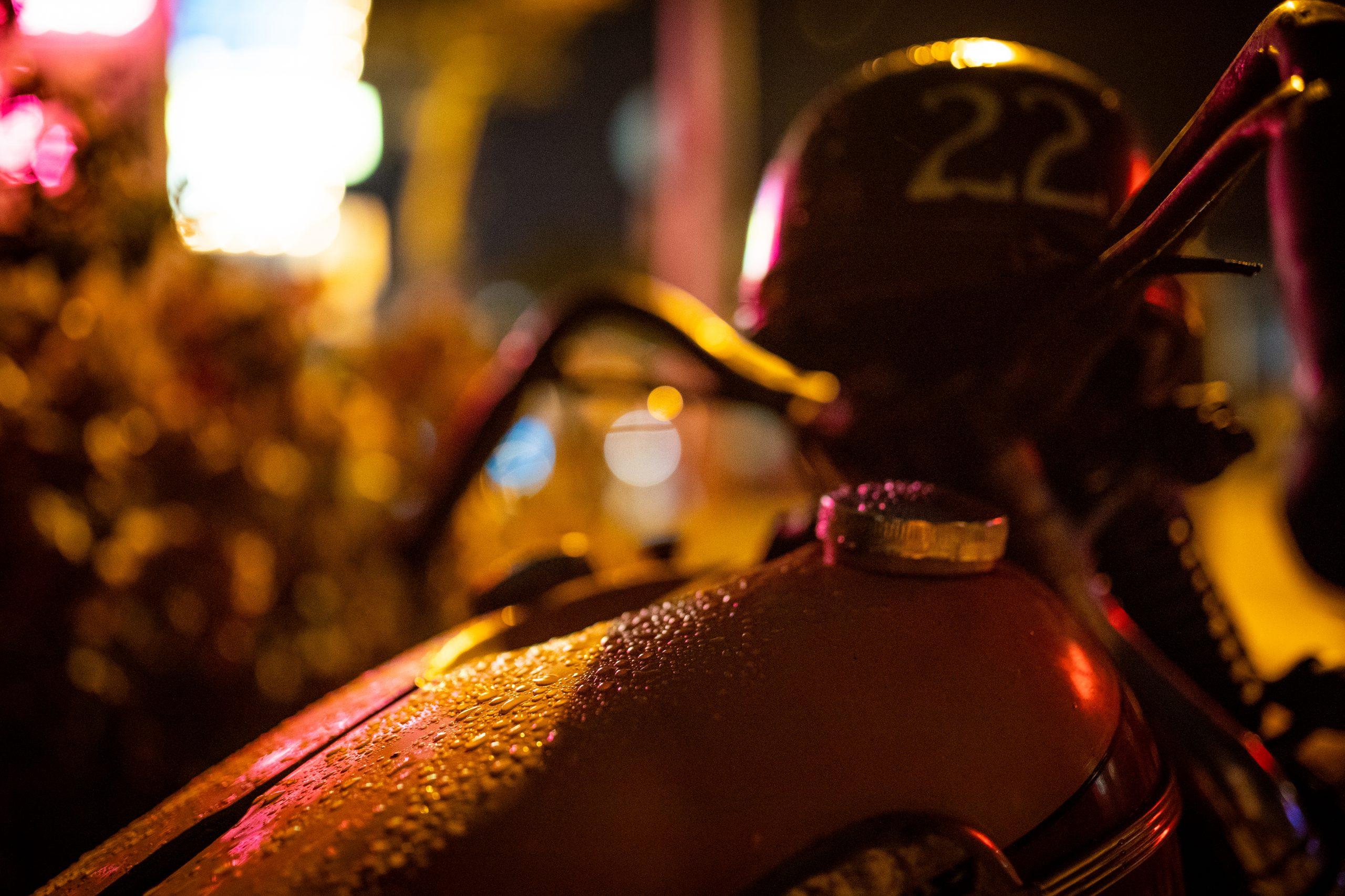 motorbike at night tank perspiration