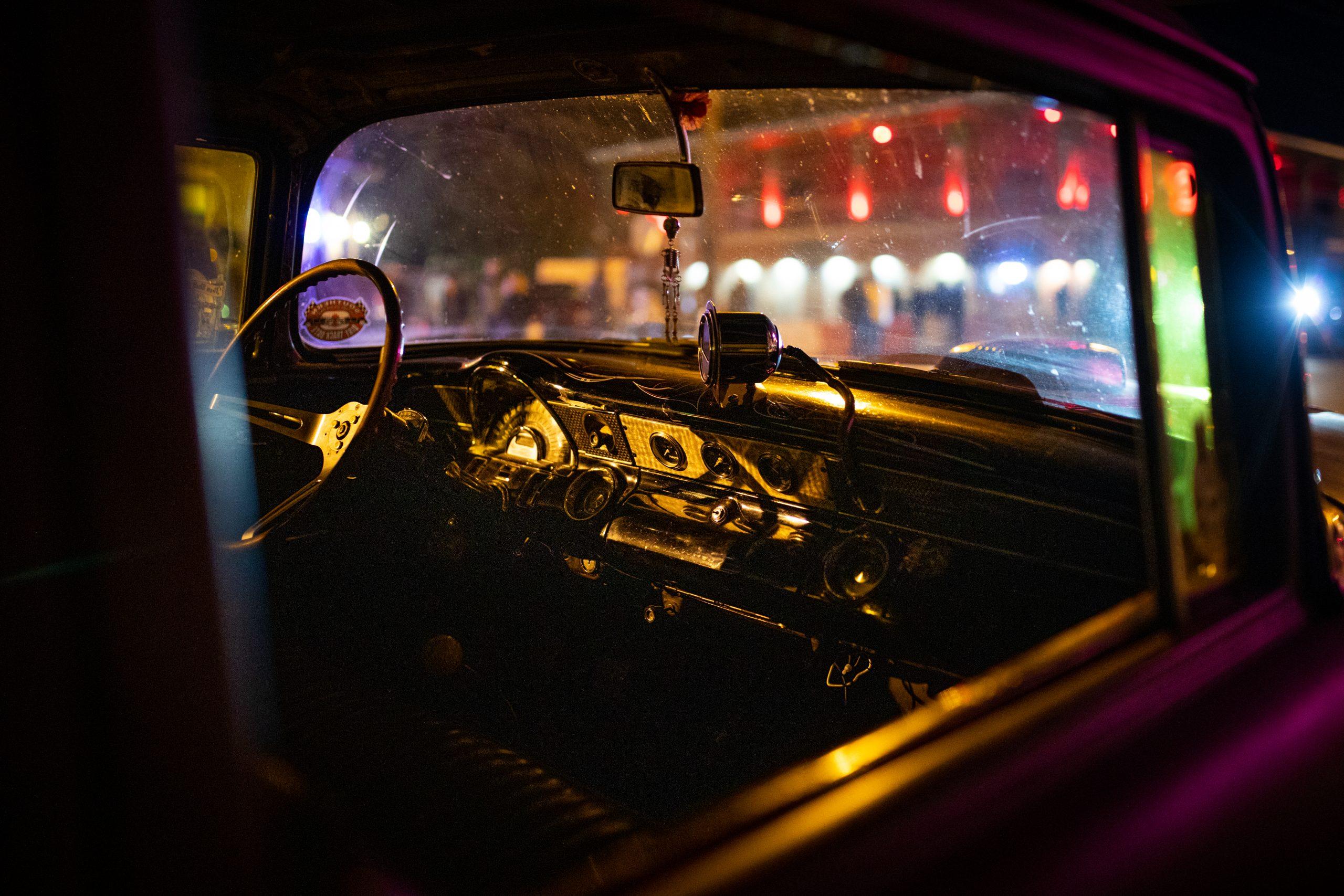 hot rod interior at night