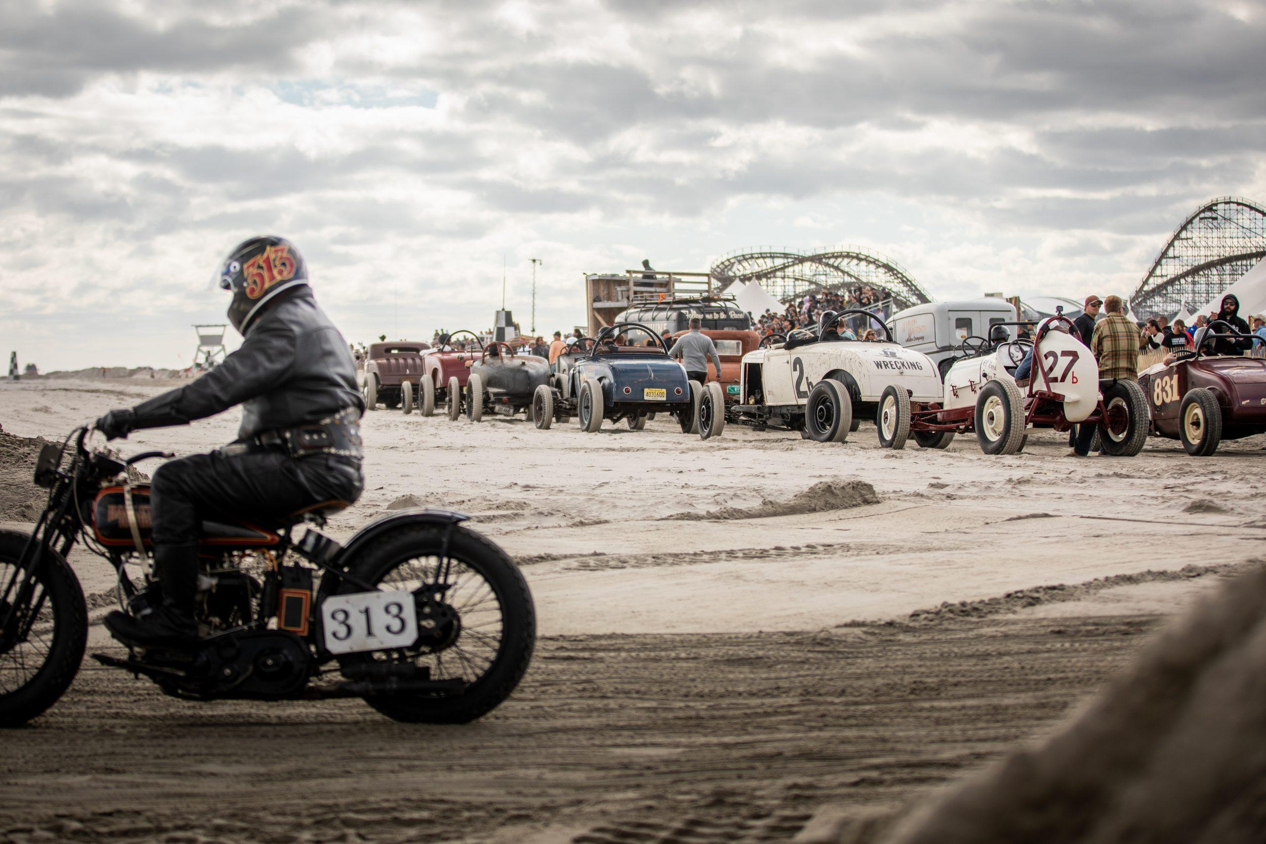 beach drag racer action