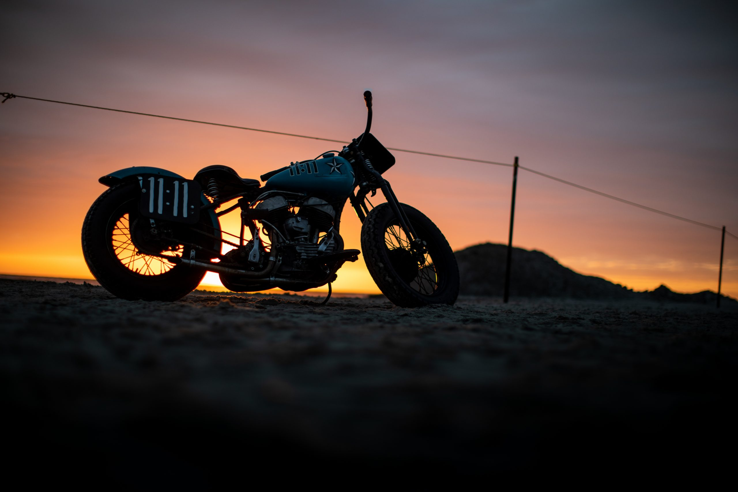 motorbike drag racer sundown silhouette