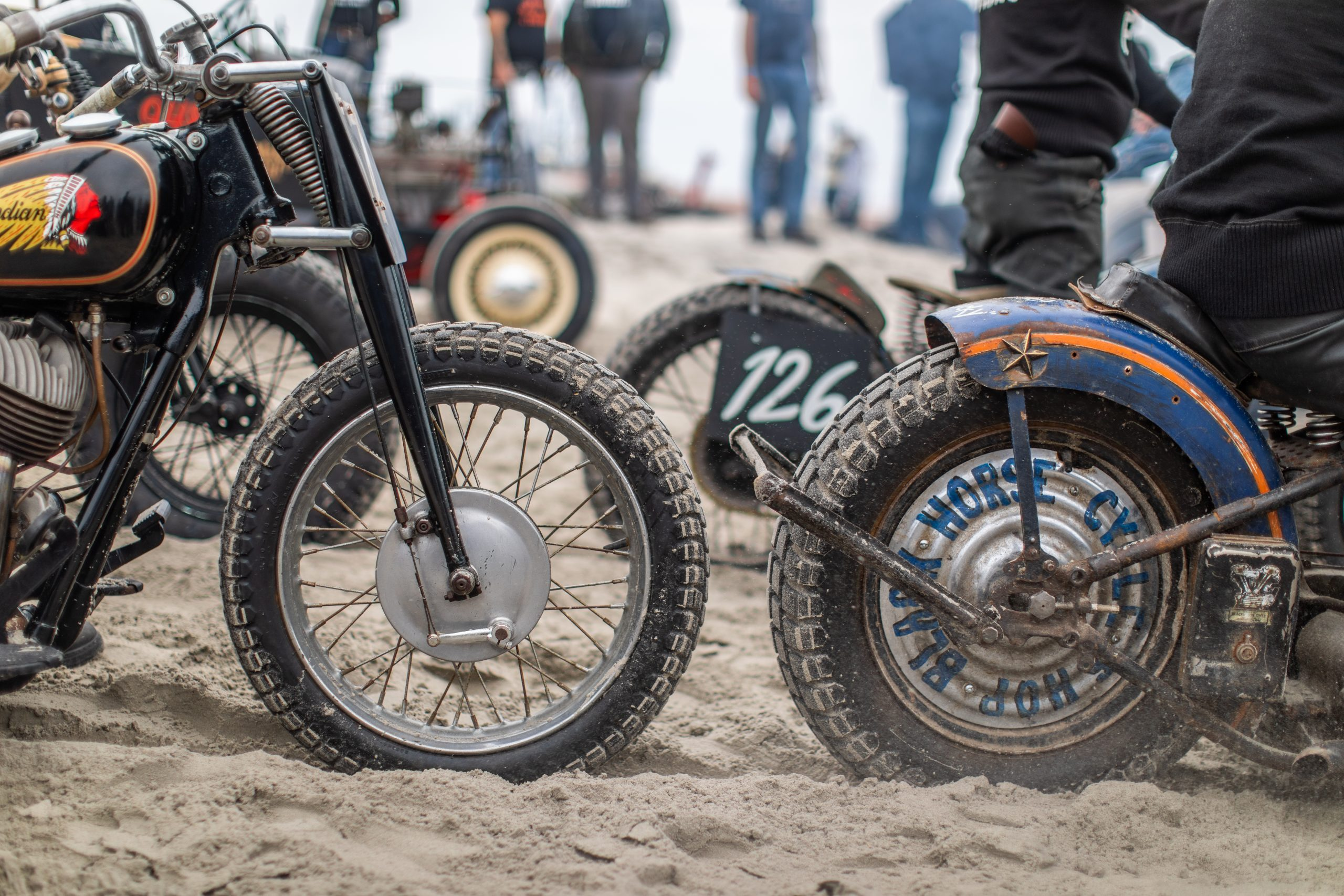 moto front and rear beach sand racing detail