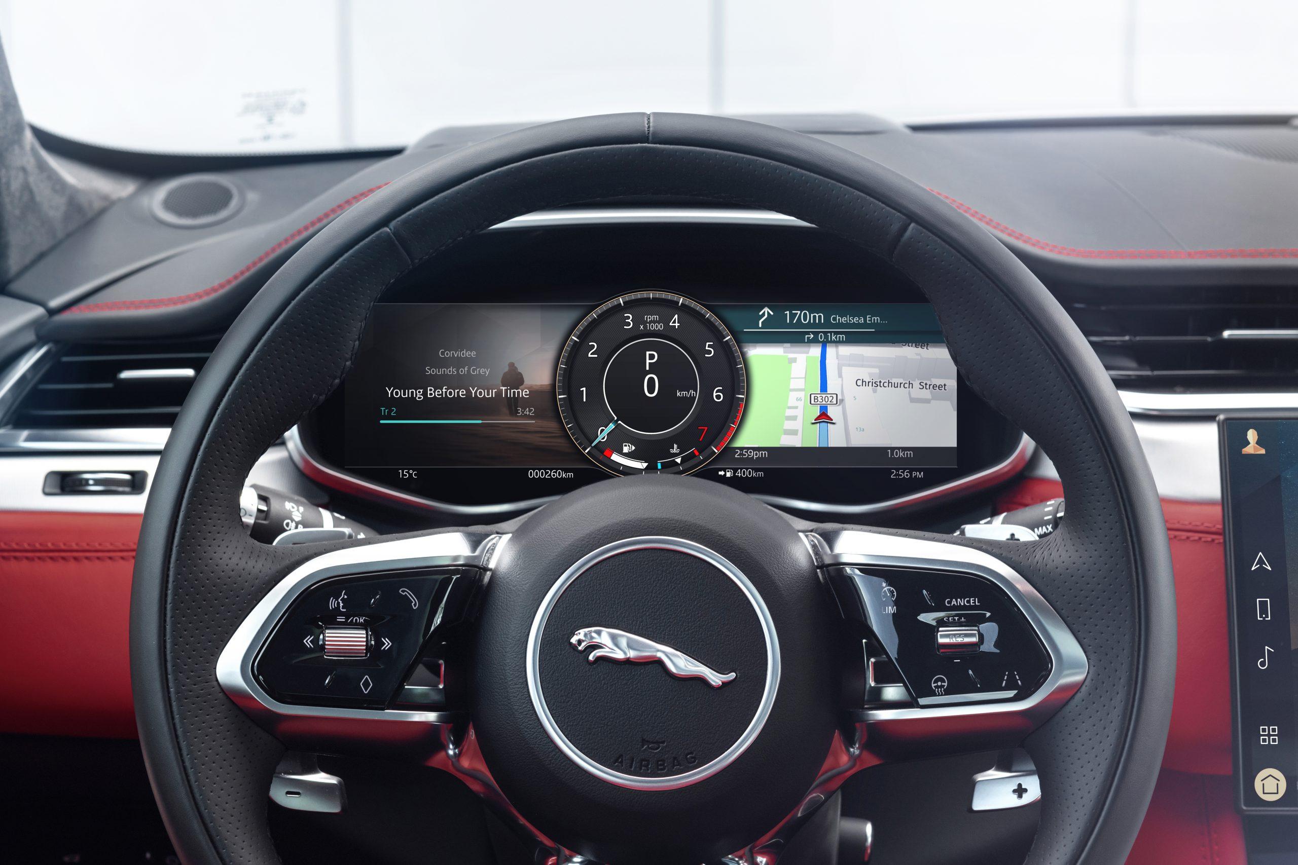 2021 Jaguar F-PACE interior steering wheel digital dash