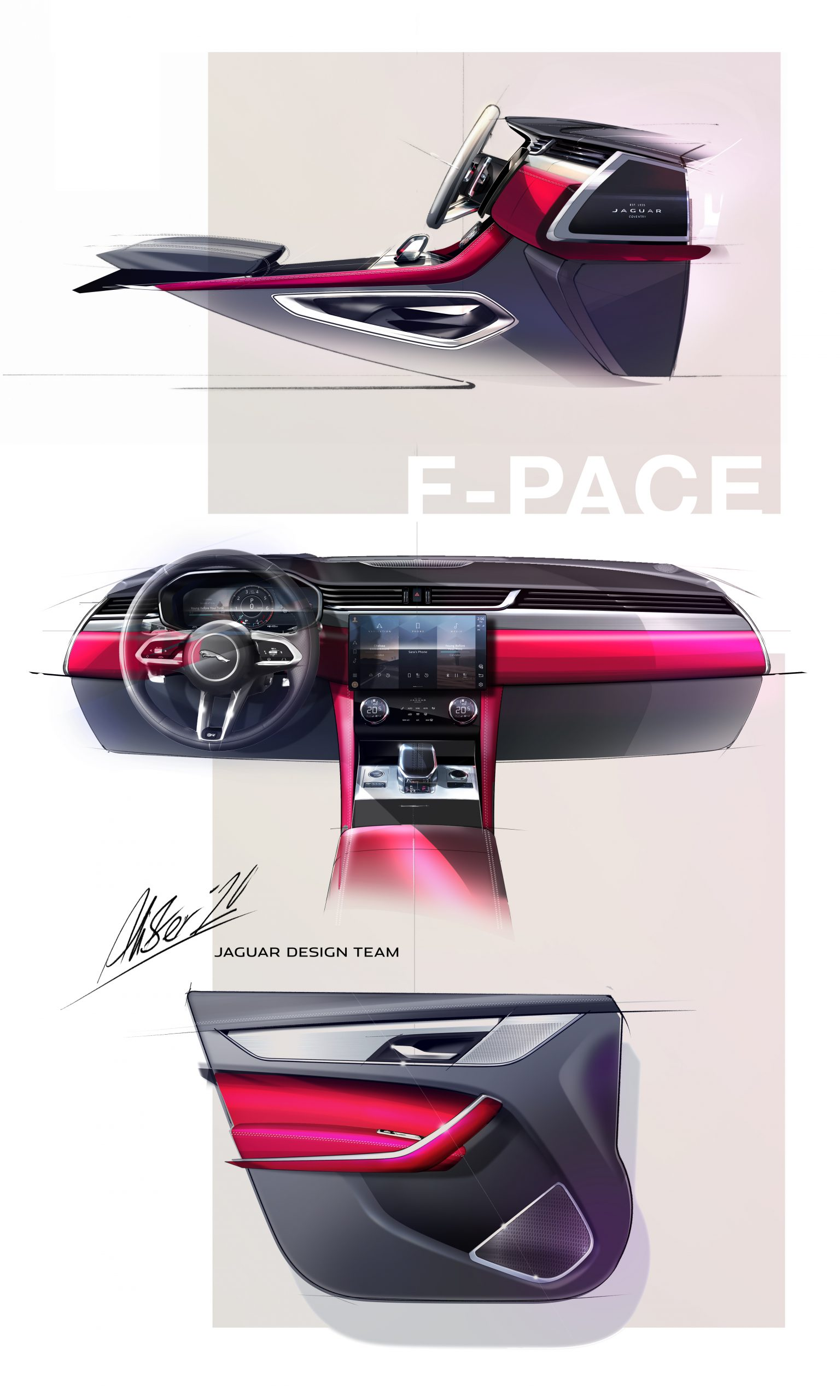 2021 Jaguar F-PACE interior design sketch