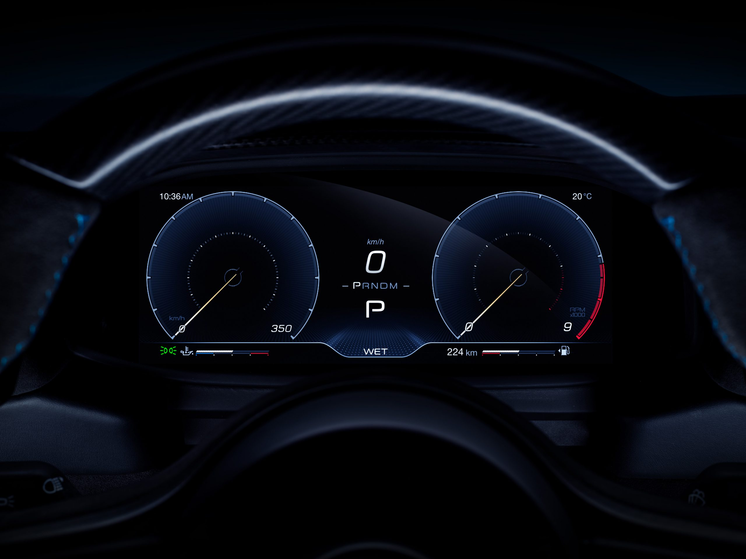 Maserati MC20 digital instrument panel