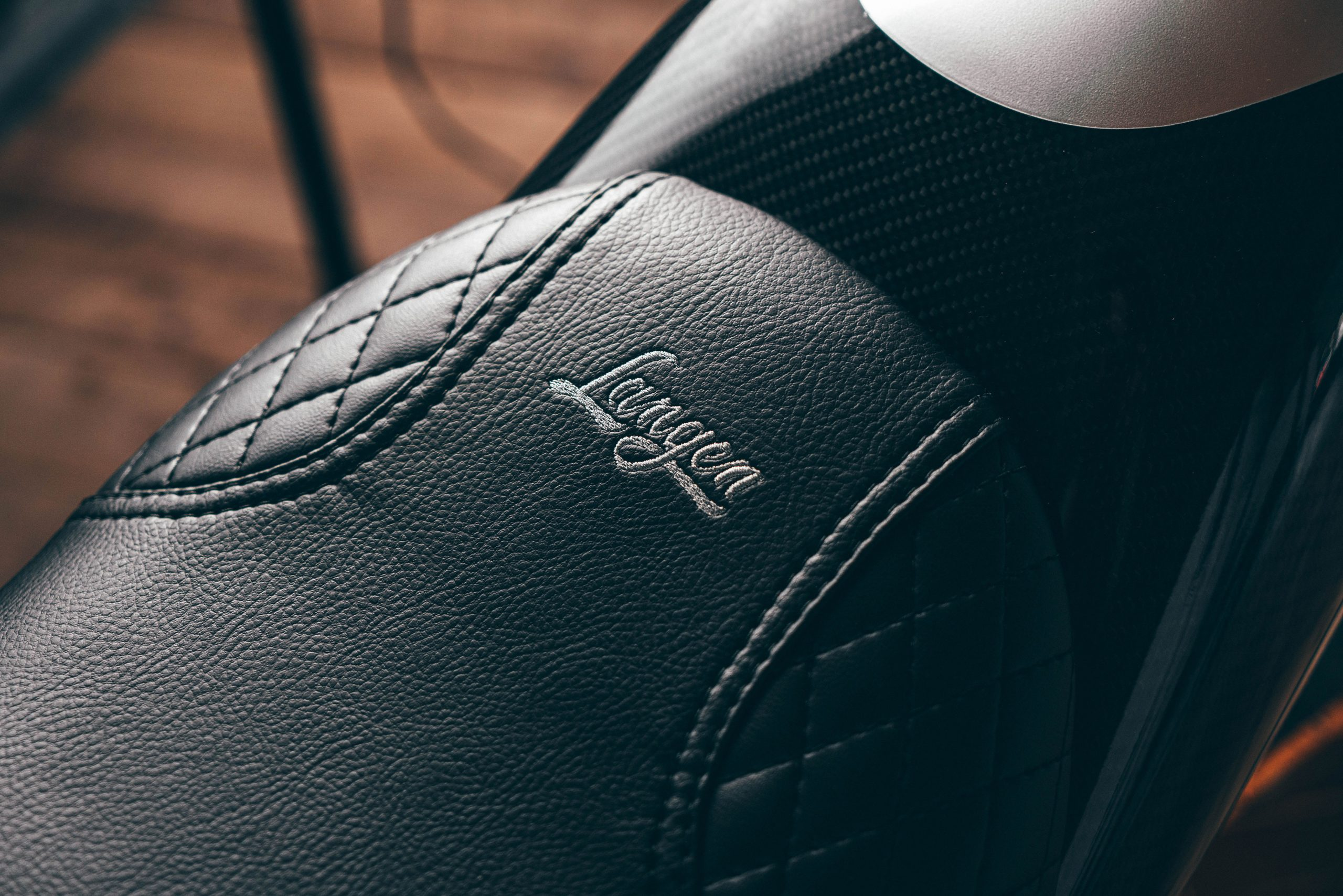 Langen Motorcycles Two Stroke leather seat embroidery detail