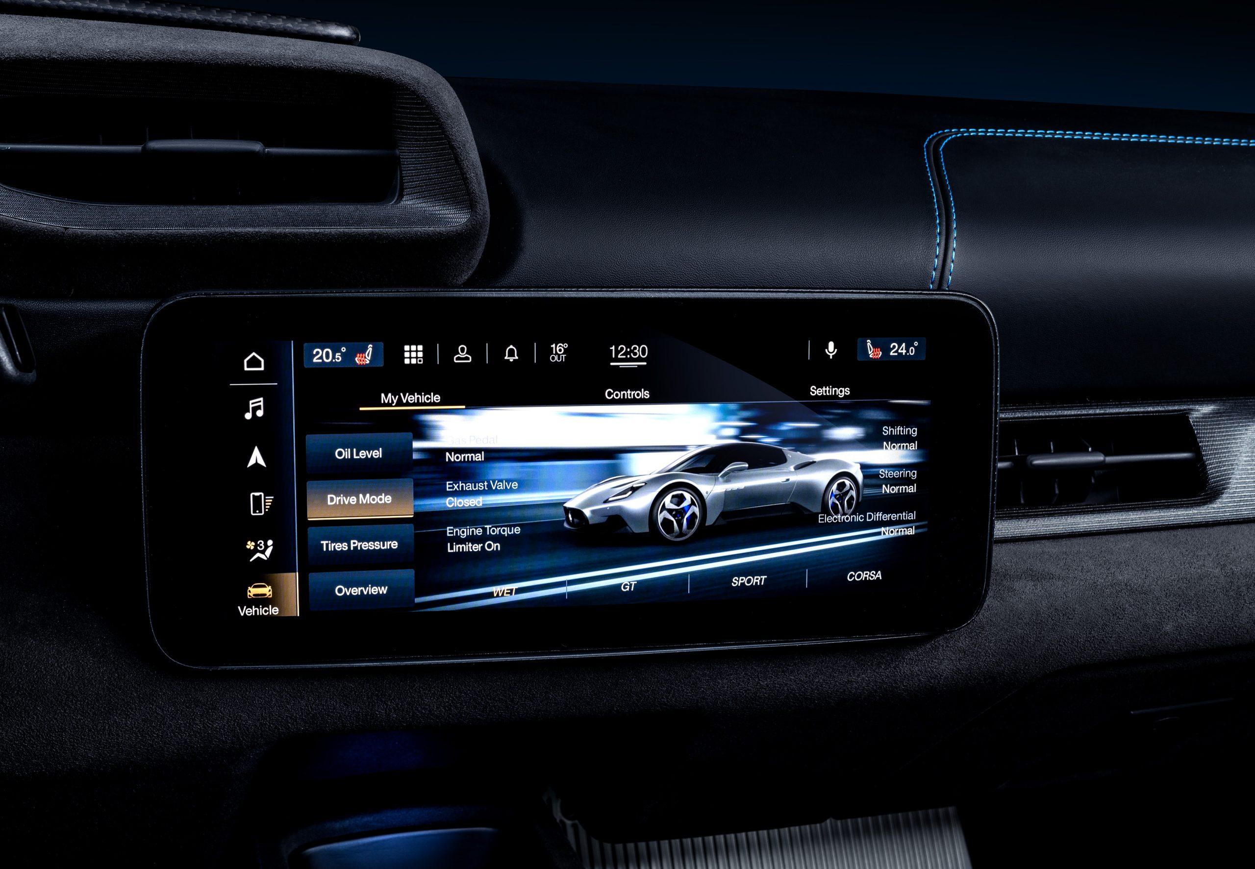 Maserati MC20 interior screen wet mode