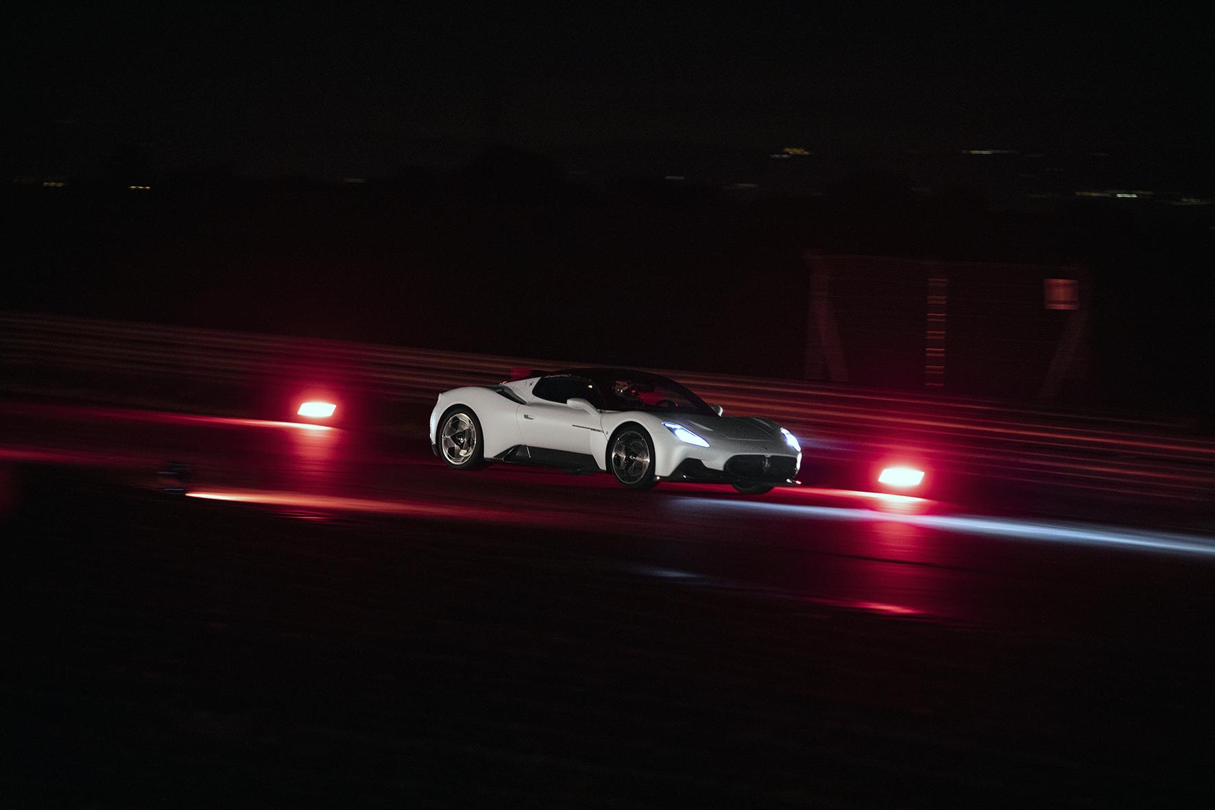 Maserati MC20 driving night time