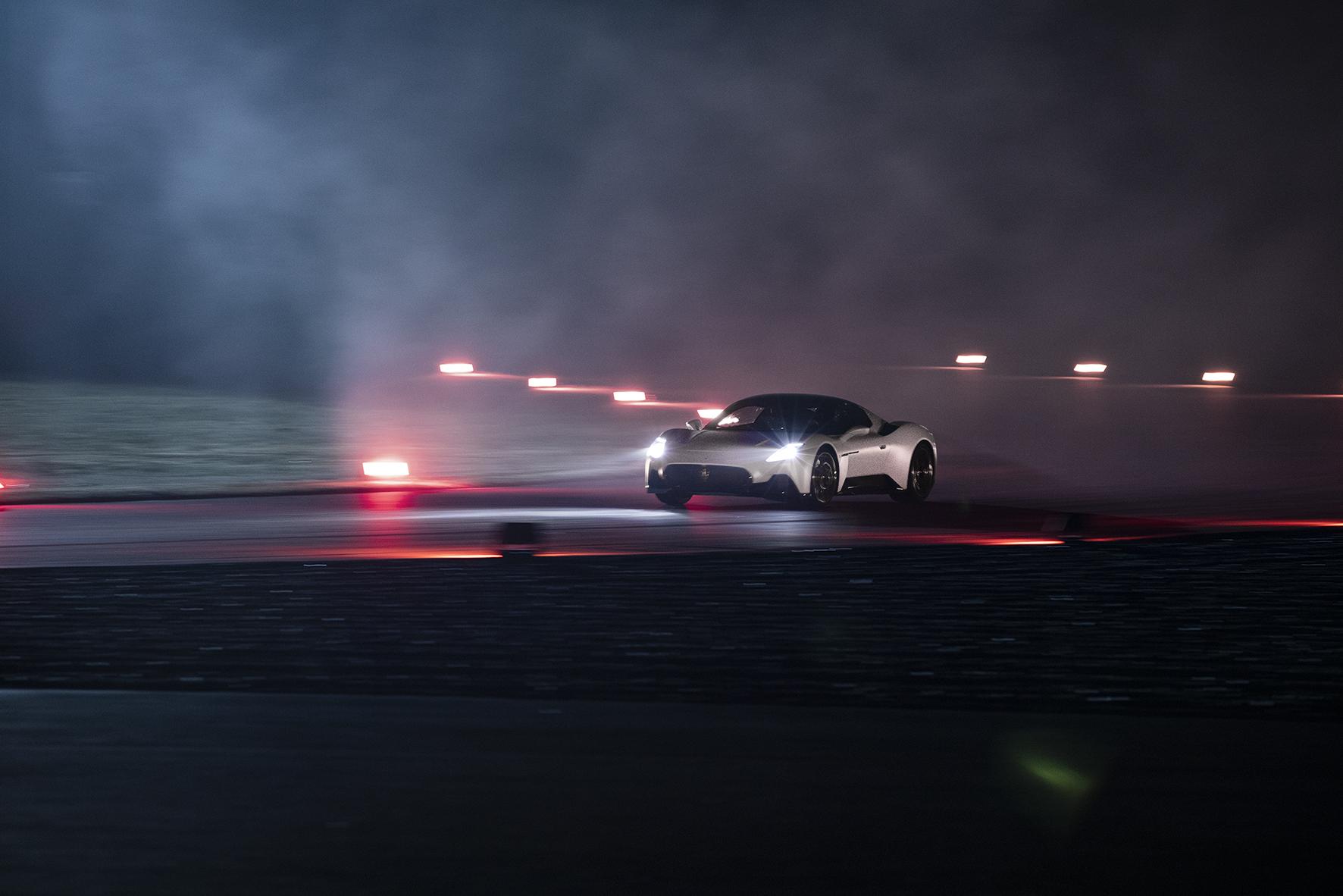 Maserati MC20 driving night time track