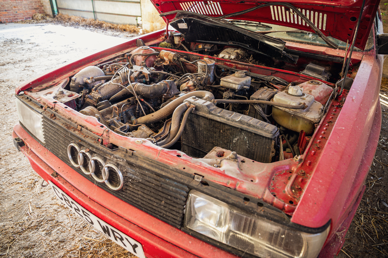 Audi Quattro barn find engine angle
