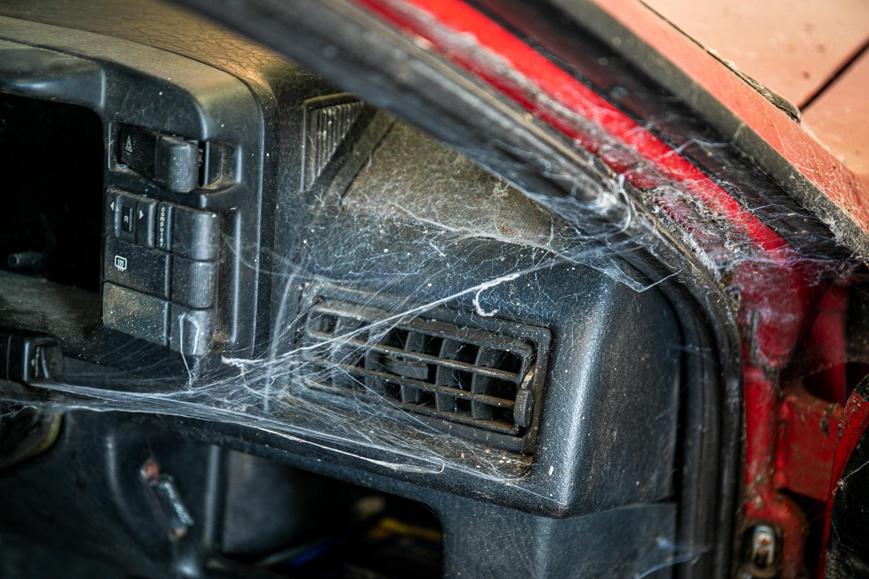 Audi Quattro barn find vent spider cobweb detail