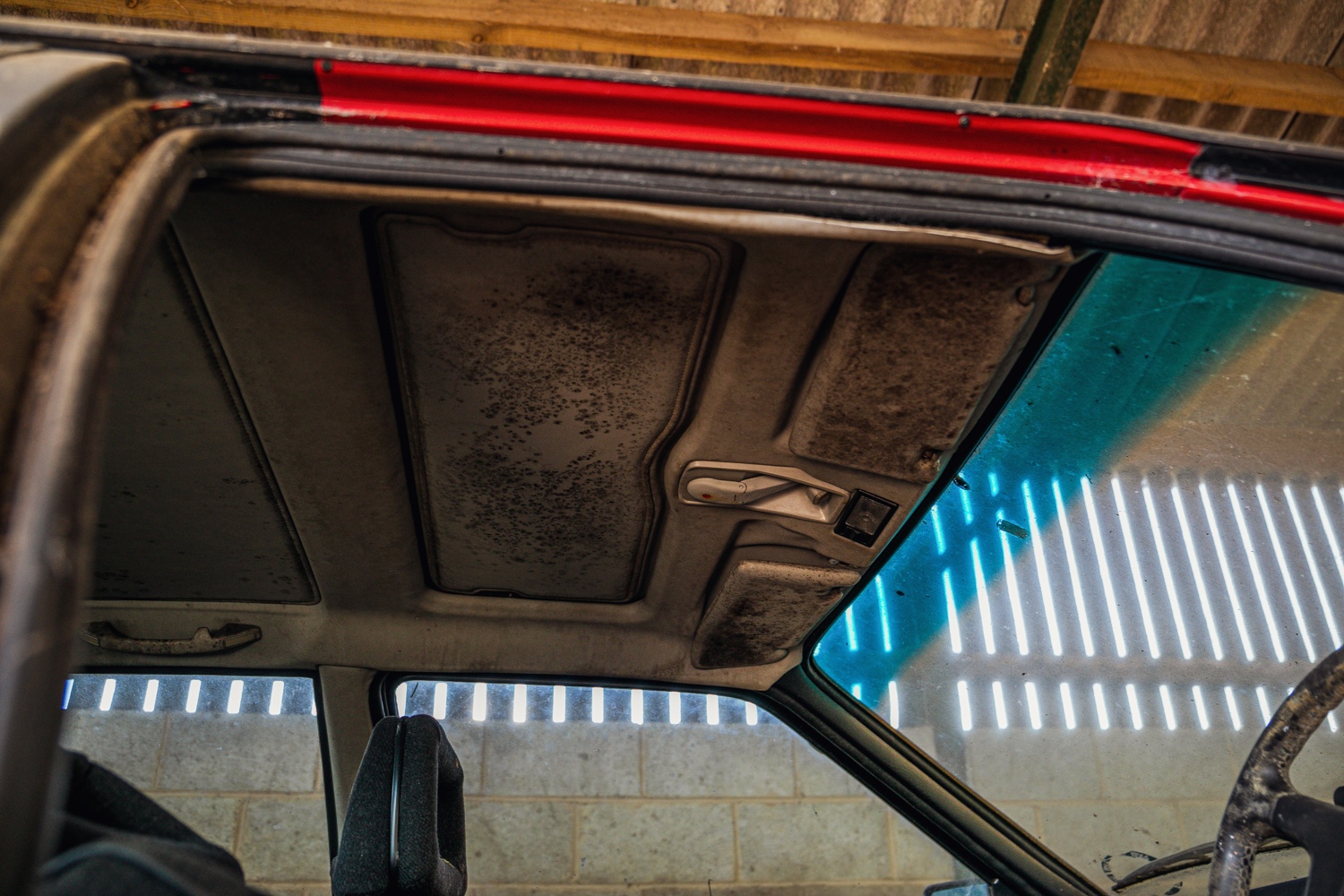 Audi Quattro barn find roof headliner