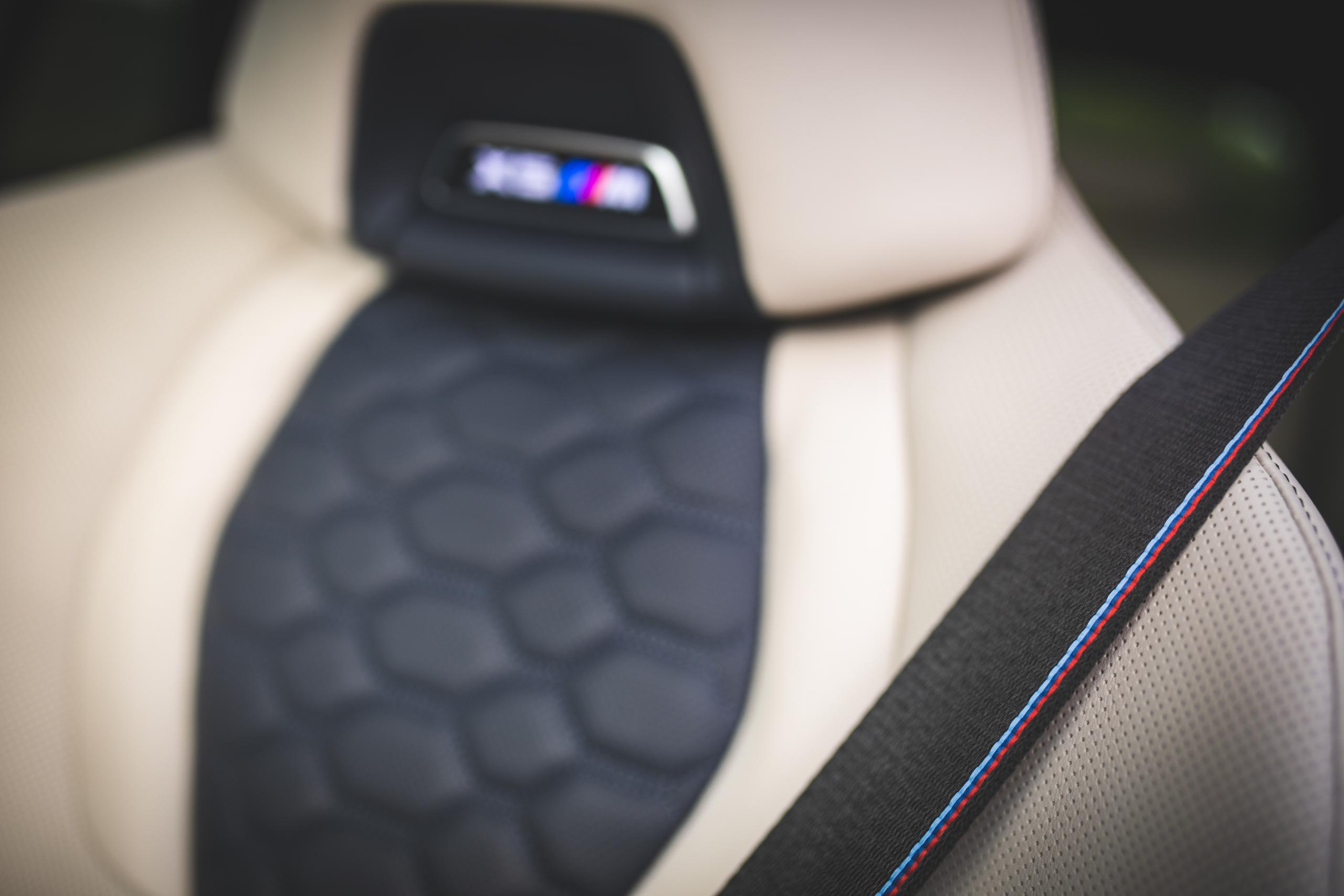 bmw x5m seat belt stitching detail