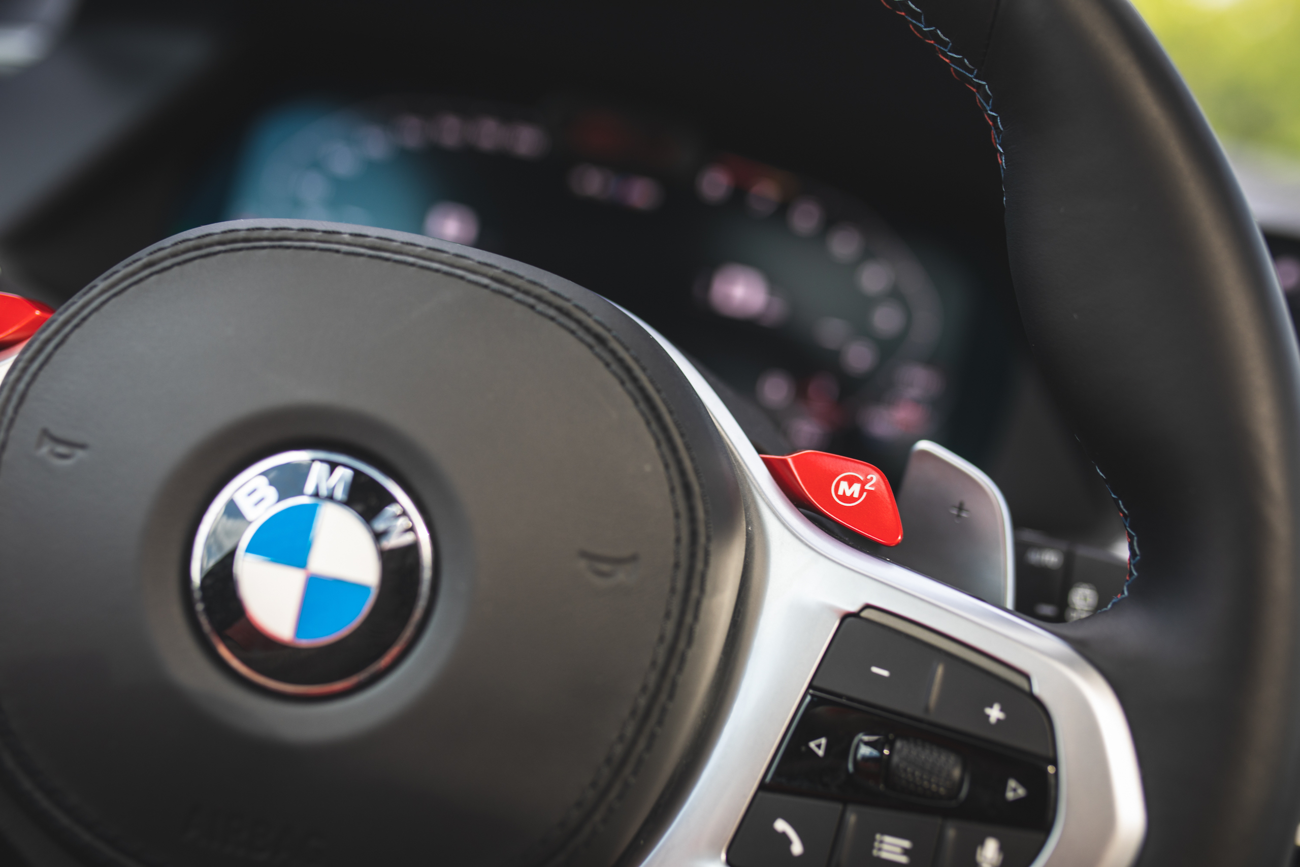 bmw x5m steering wheel red lever detail