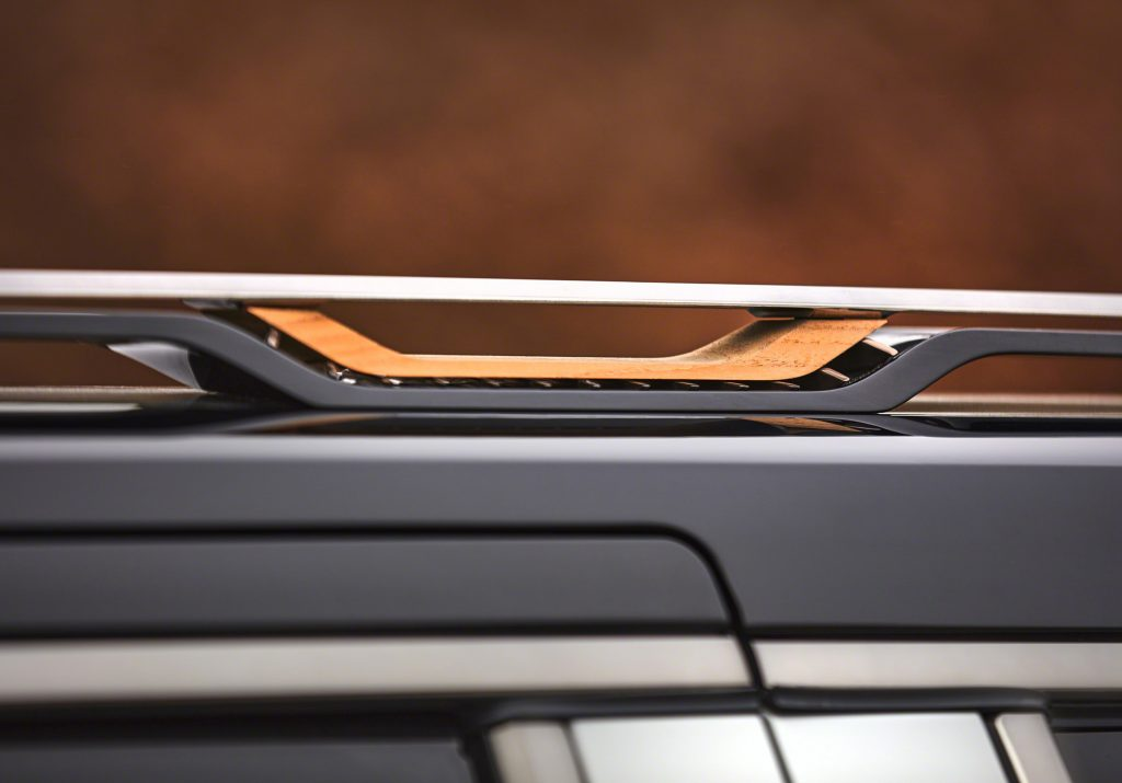 Grand Wagoneer Concept teak inserts in roof rail tie-down holes