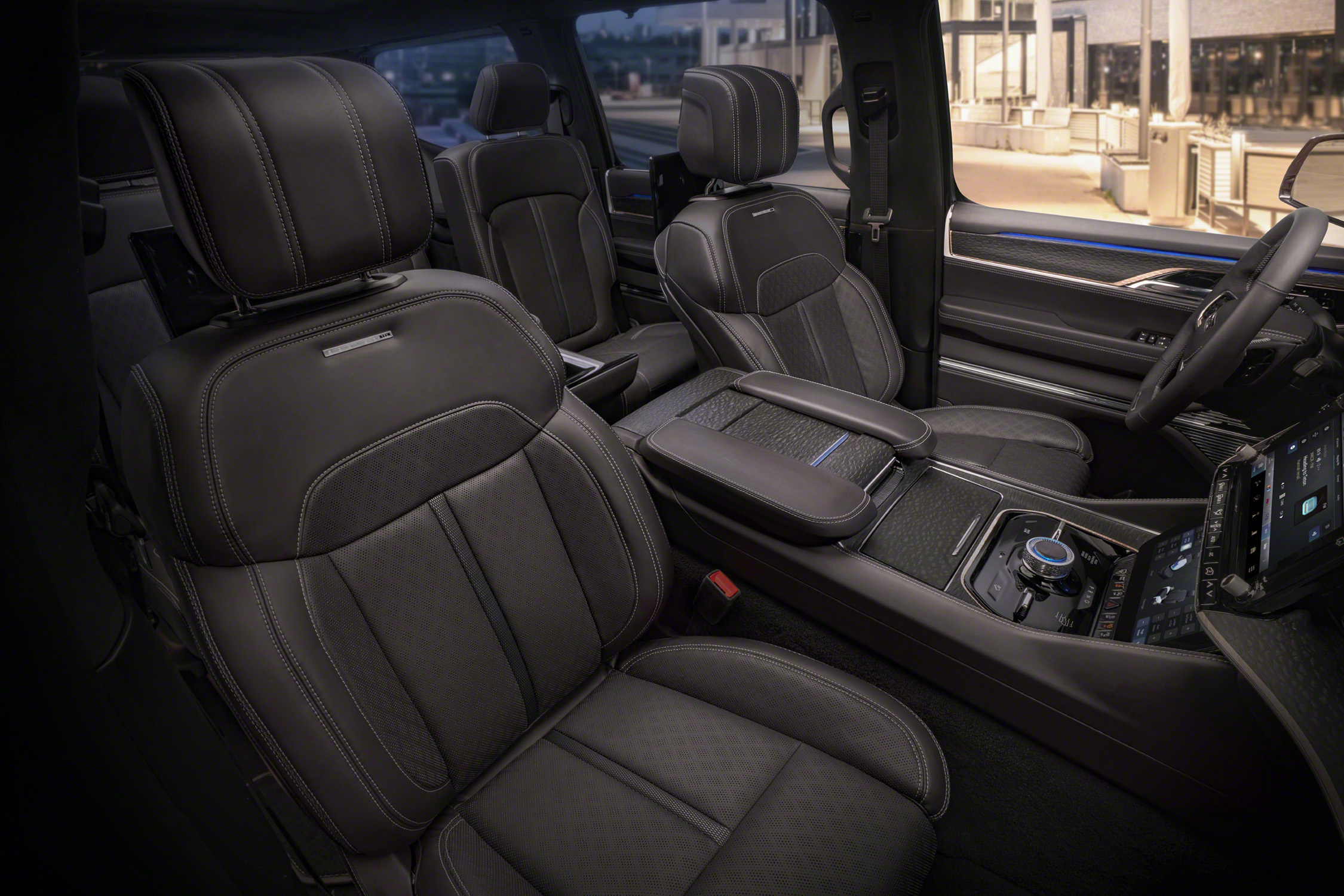 Grand Wagoneer Concept Interior shot facing seats