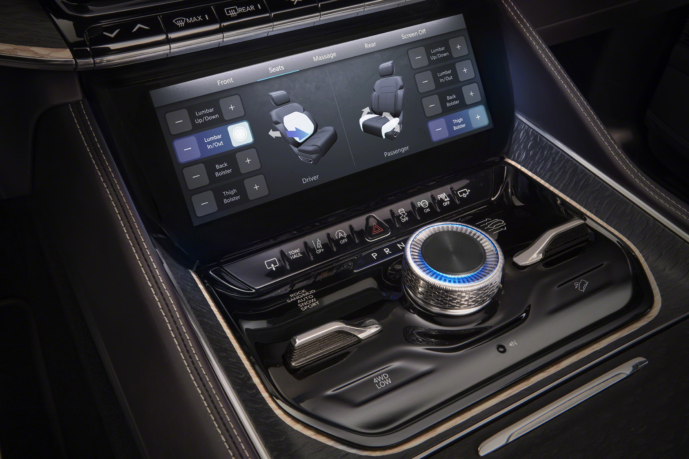 Grand Wagoneer Concept center console dial and comfort screen