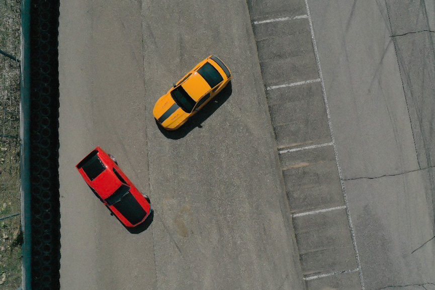ford mustang boss 302 new vs old aerial