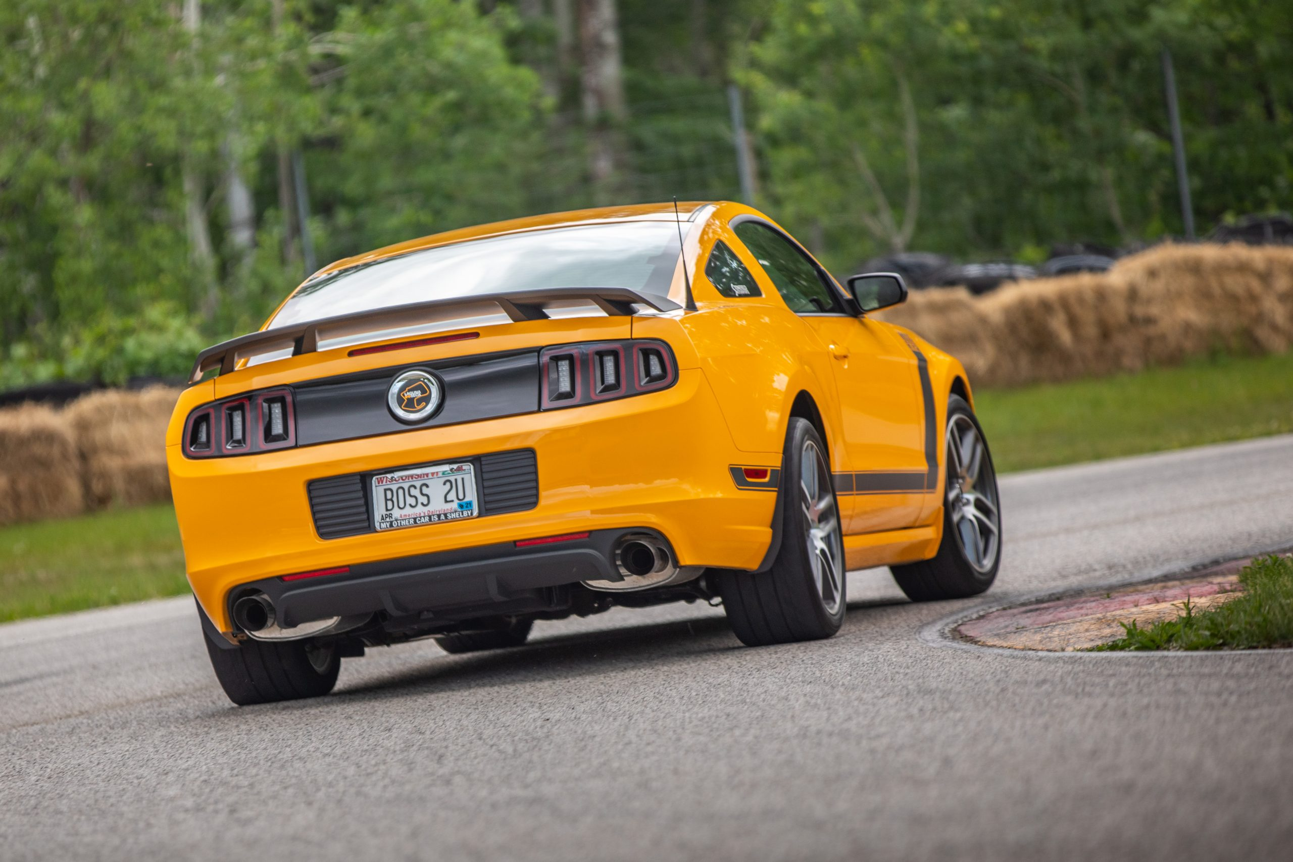 ford mustang boss 302 modern rear three-quarter