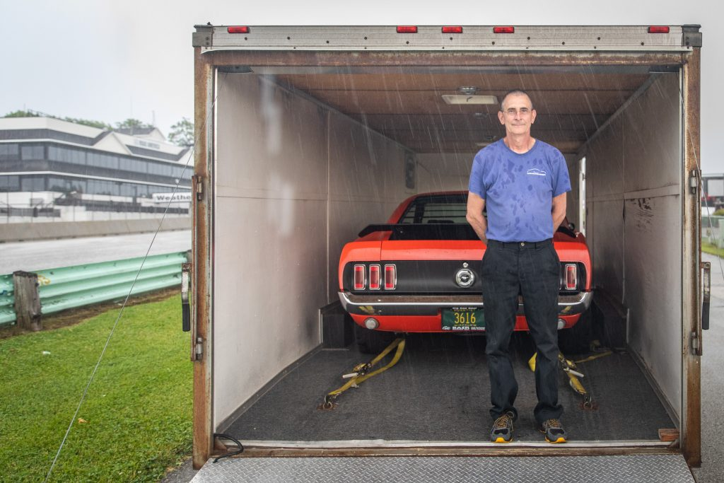 vintage boss 302 in trailer during rain