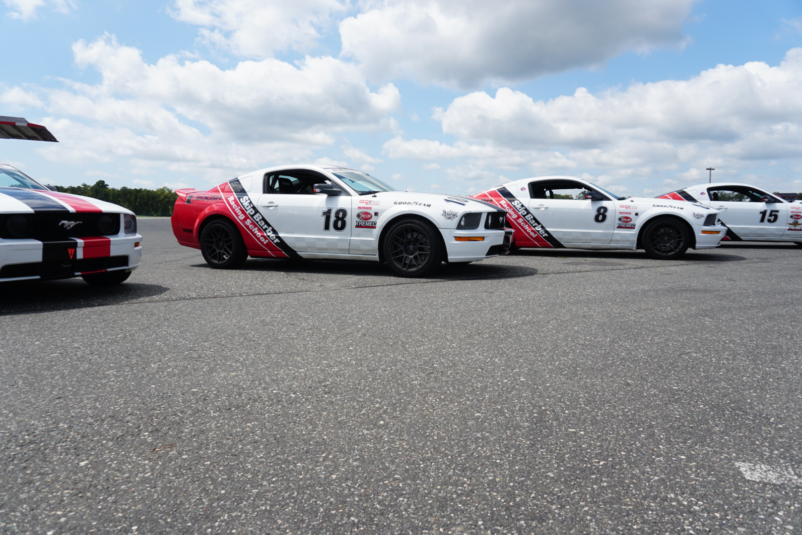Skip Barber Racing School Ford Mustang race car line up