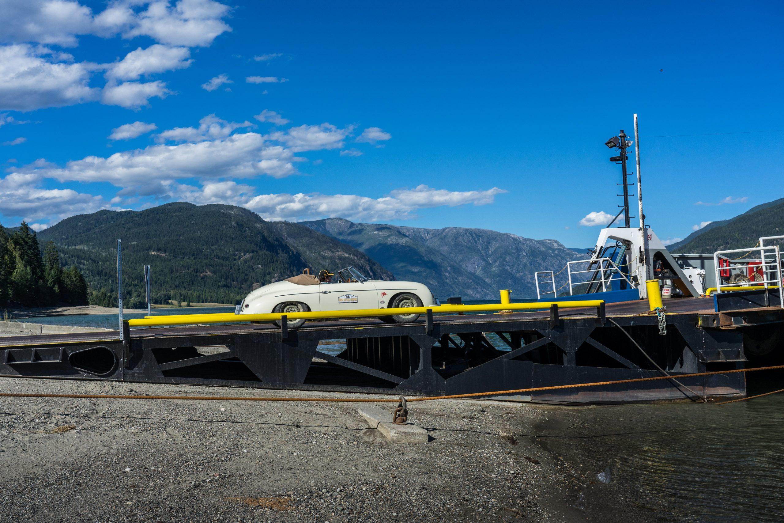 rush to gold bridge porsche 356 boarding ferry