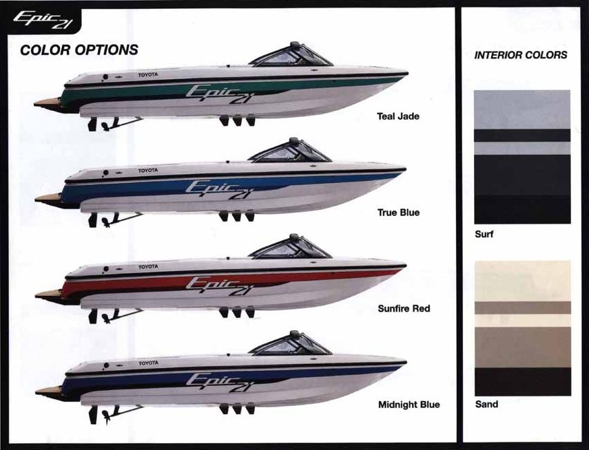 Toyota Epic 21 Powerboat color options