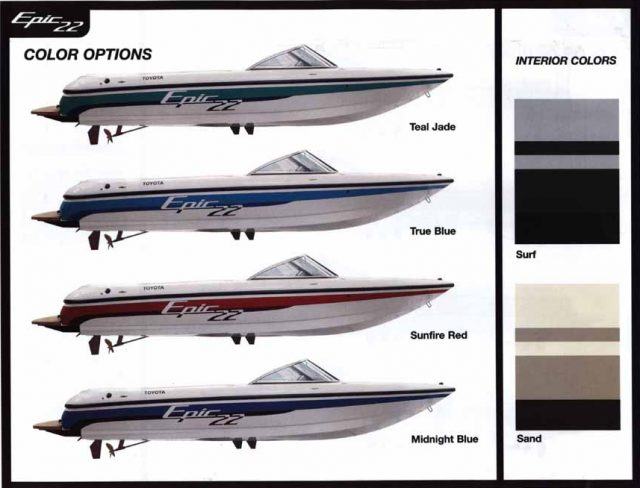 Toyota Epic 22 Powerboat color options