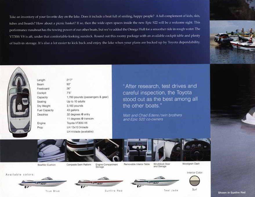 Toyota Epic 21 Powerboat ad specs