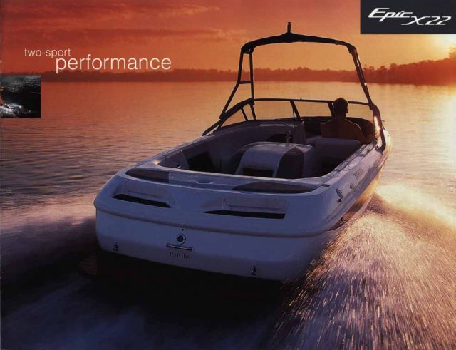 Toyota Epic X22 Powerboat rear three-quarter action at sunset