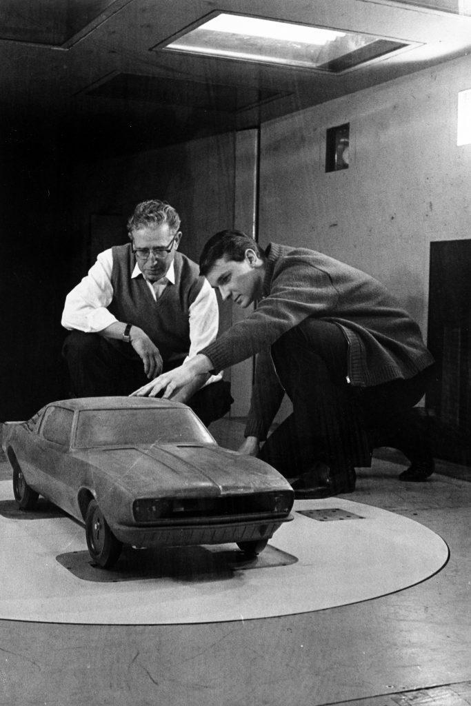 First Gen Camaro design clay model front three-quarter