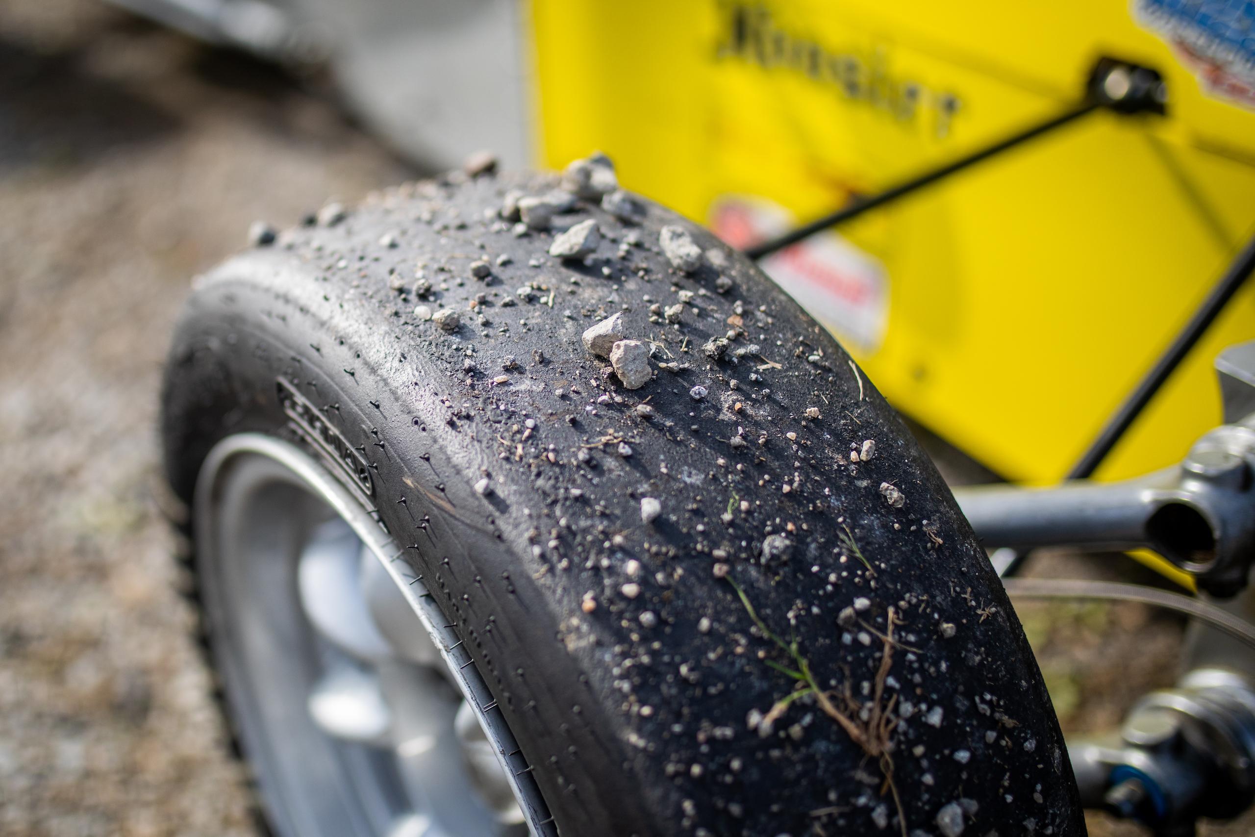 Formula First racecar tire gravel