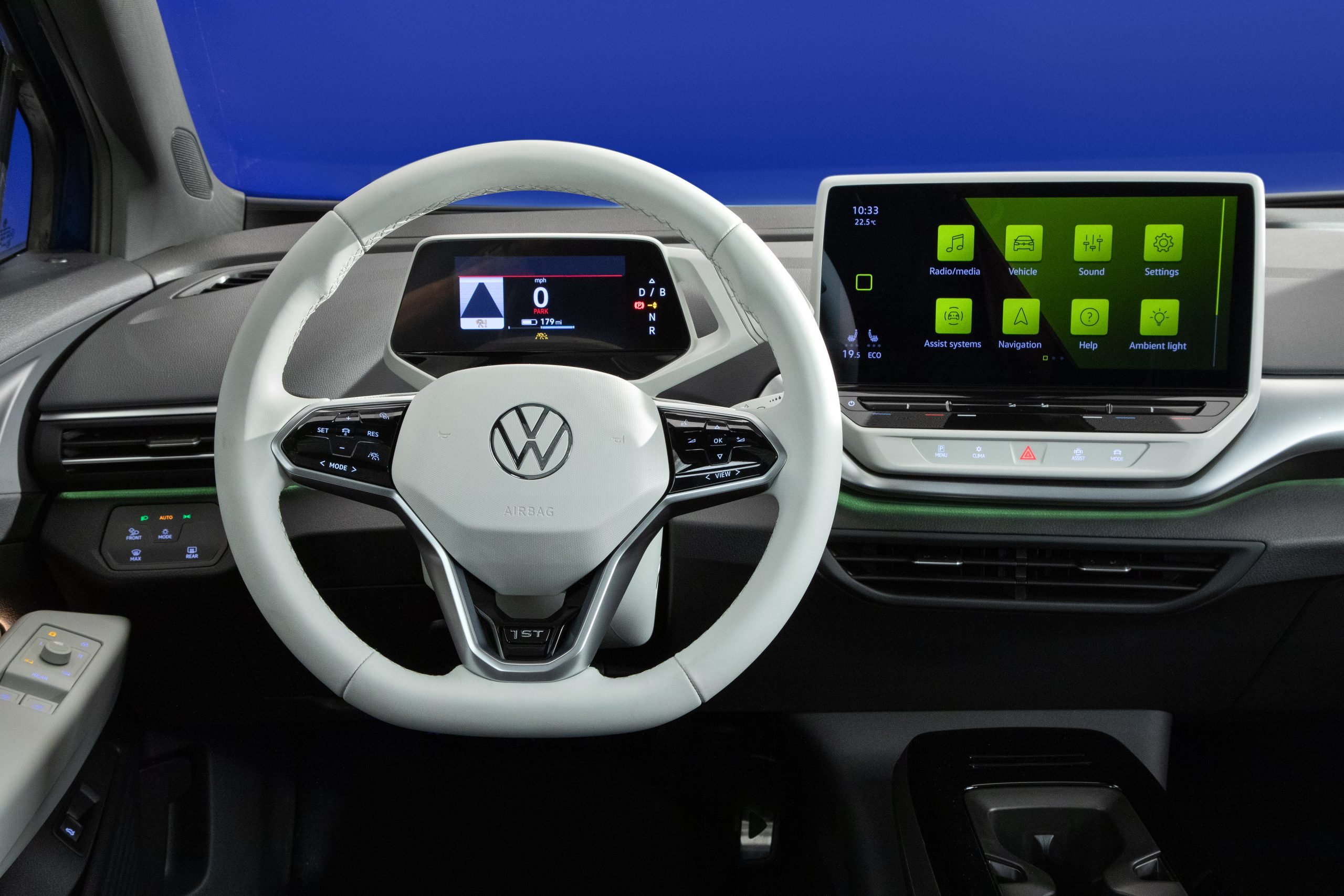 2021 VW ID.4 electric SUV dash touchscreen steering wheel