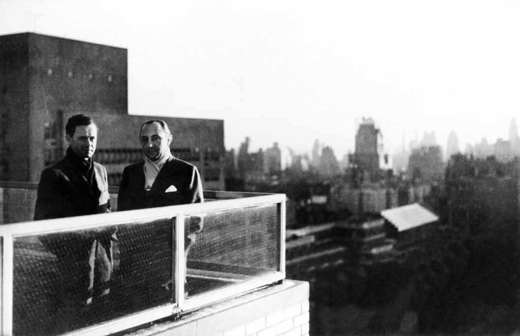 1951 ferry porsche and max hoffman on apartment terrace new york city