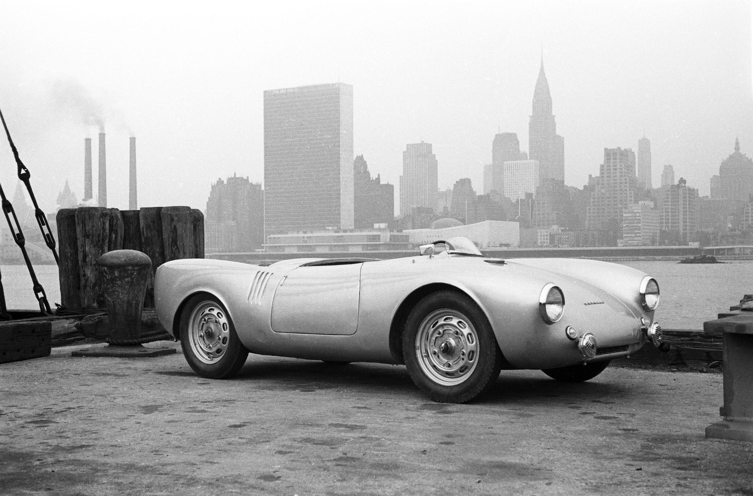 1953 new york porsche 550 manhattan skyline backdrop before carrera panamericana