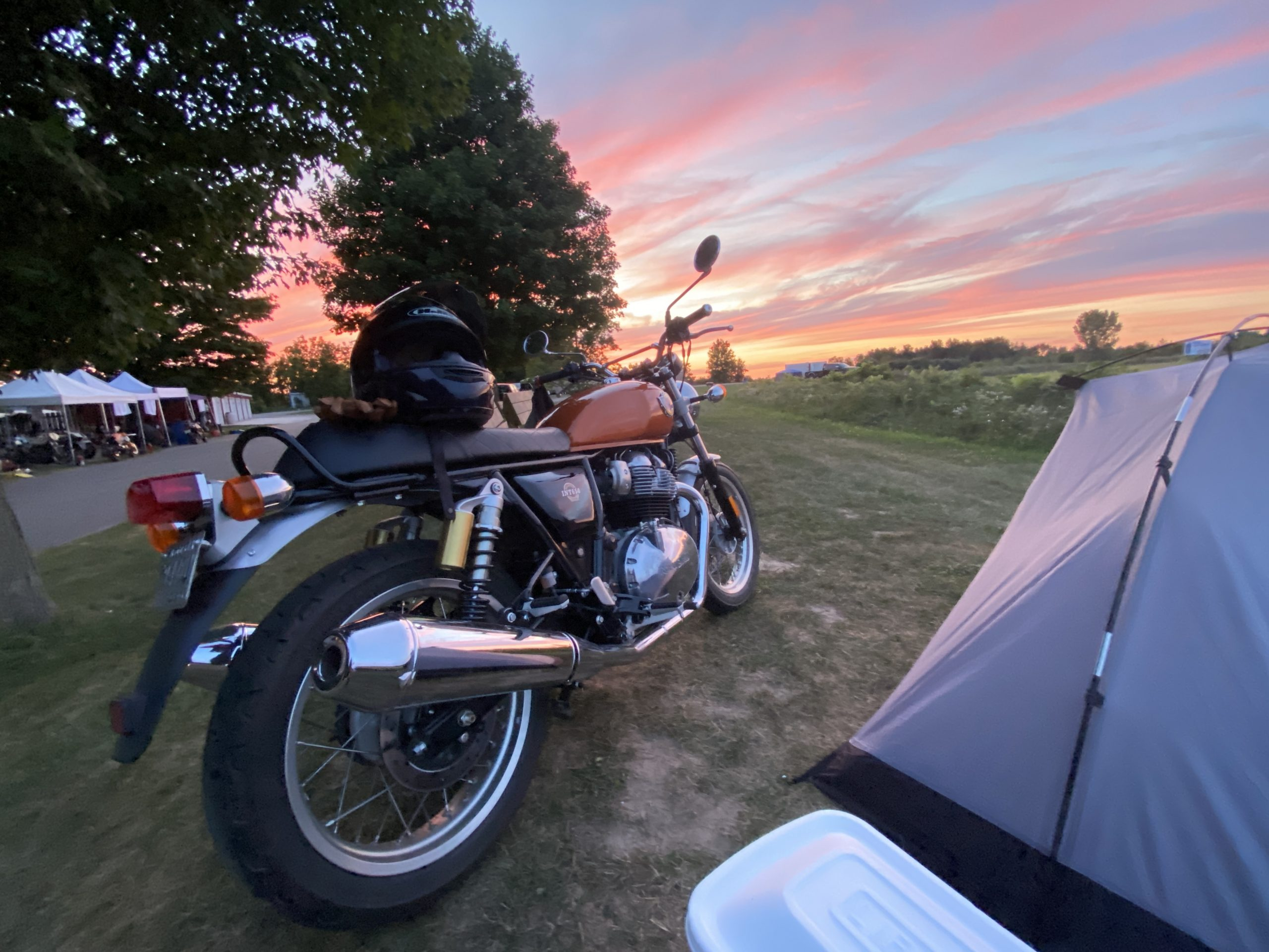 Royal Enfield INT650 at Gingerman campsite