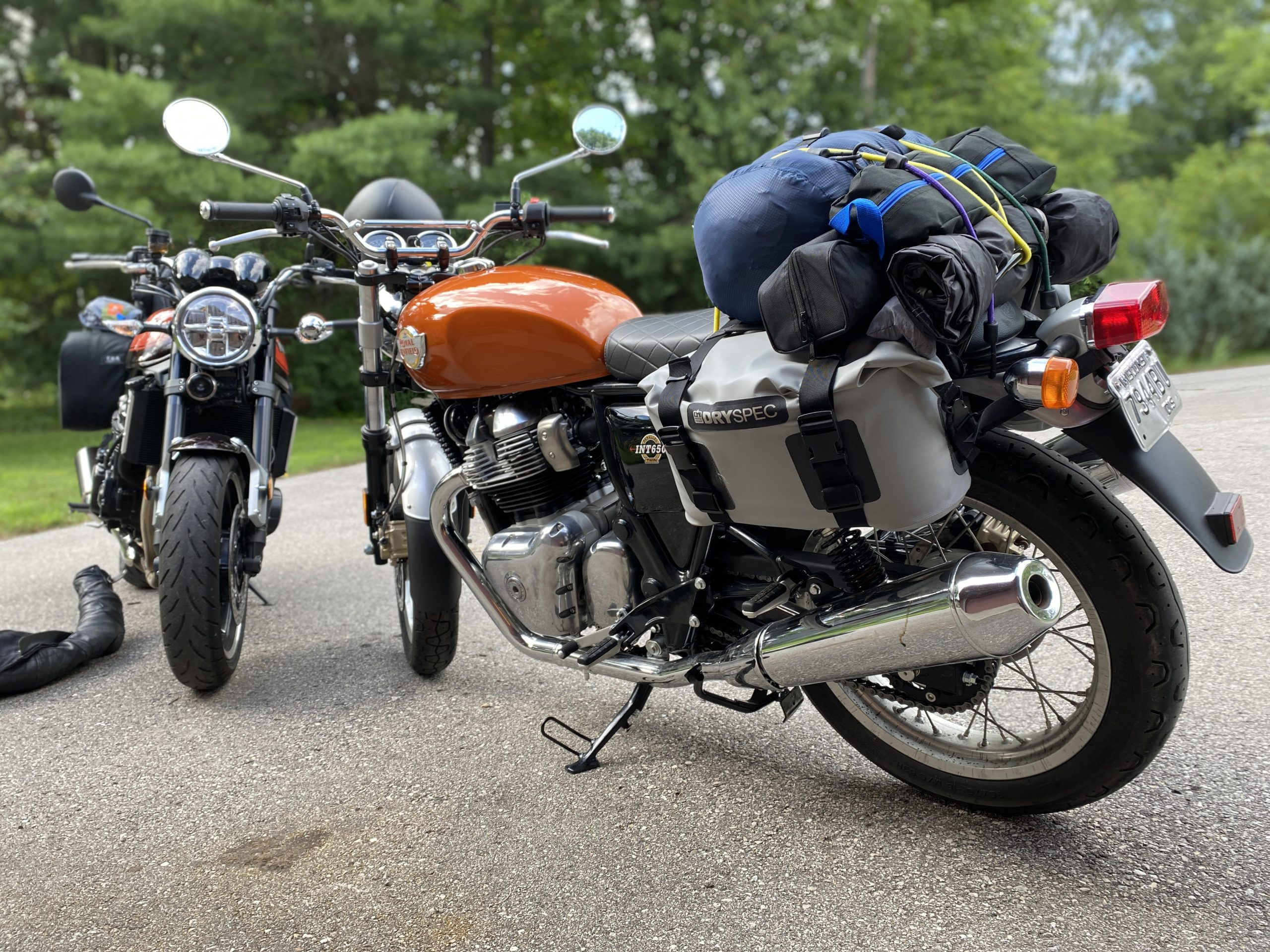 Royal Enfield INT650 with luggage