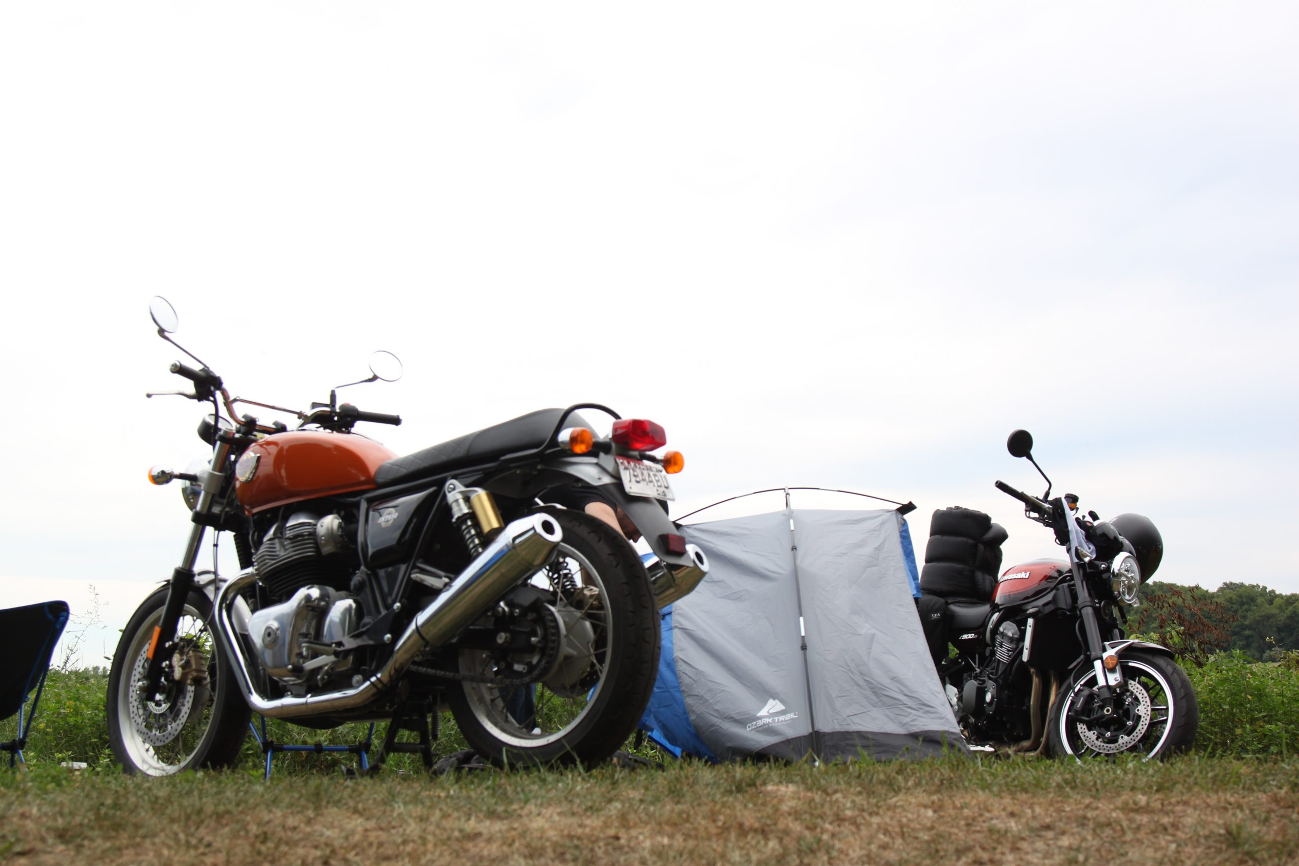 Royal Enfield INT650 at campsite