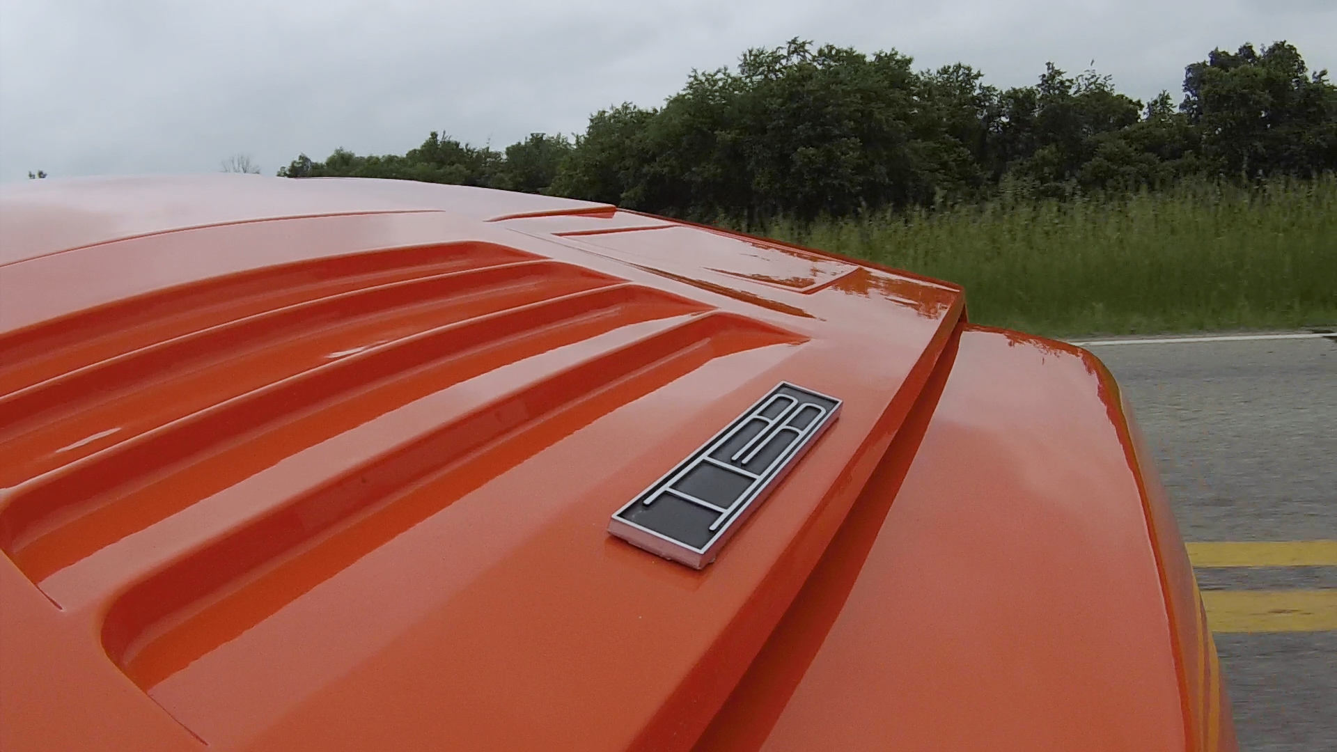 Bricklin SV-1 hood badge detail