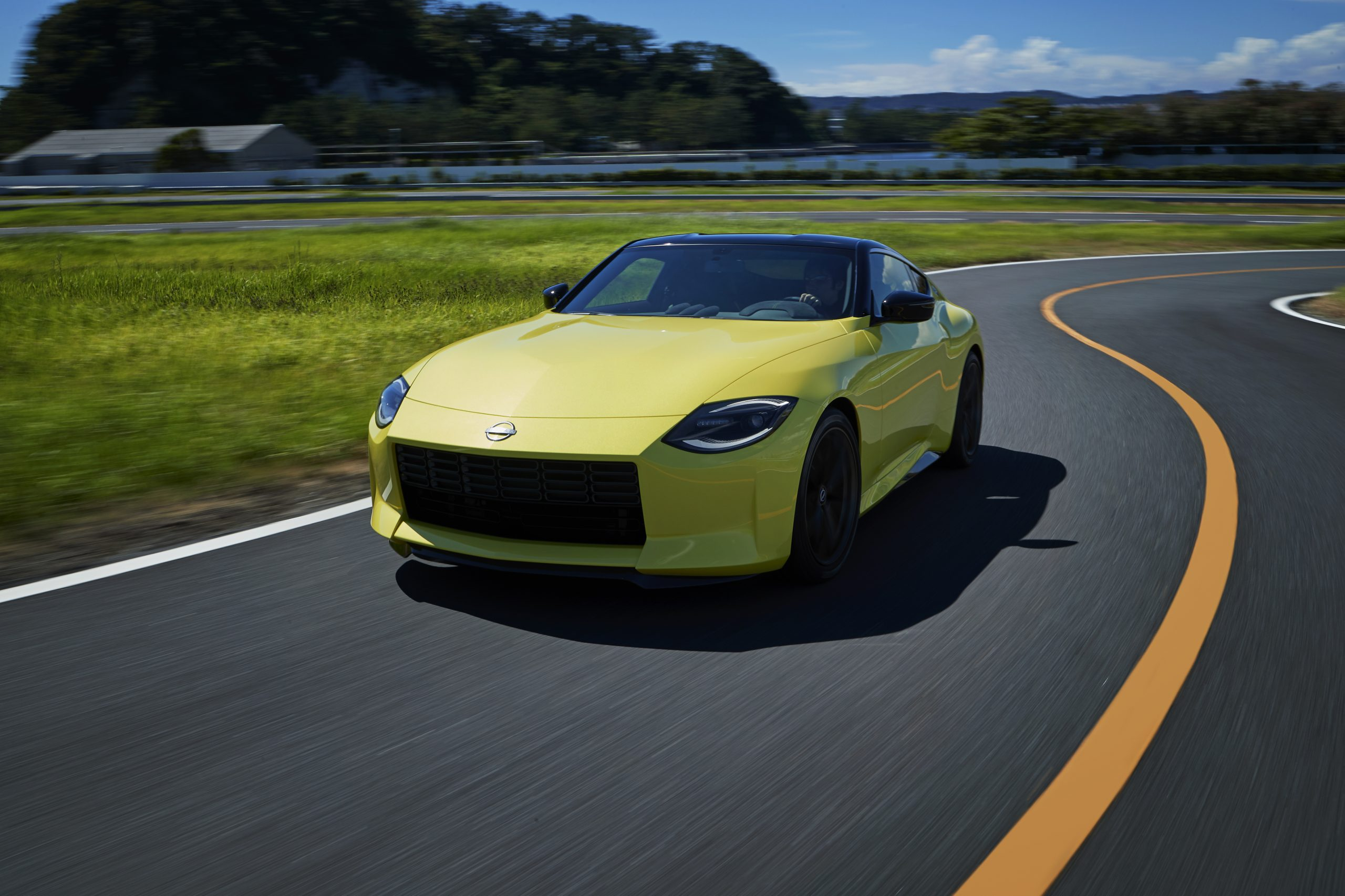 nissan new z car prototype front three-quarter dynamic action