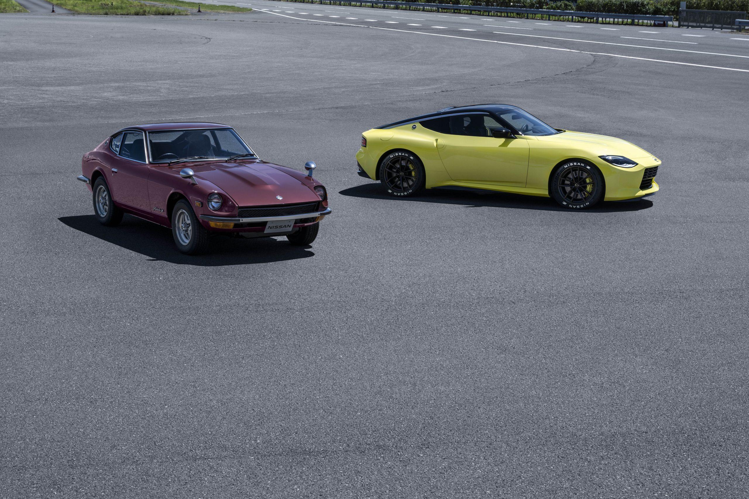 nissan new z car prototype beside datsun 240z