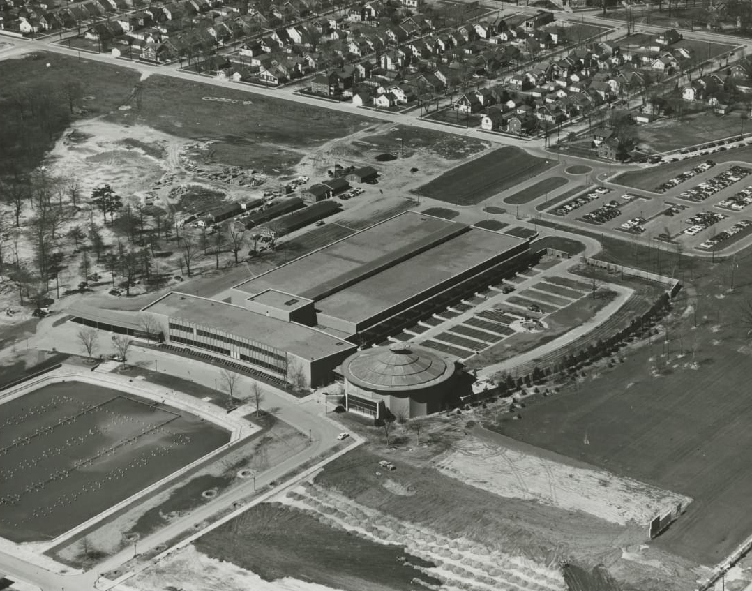 product development grounds 1953 aerial birds eye view