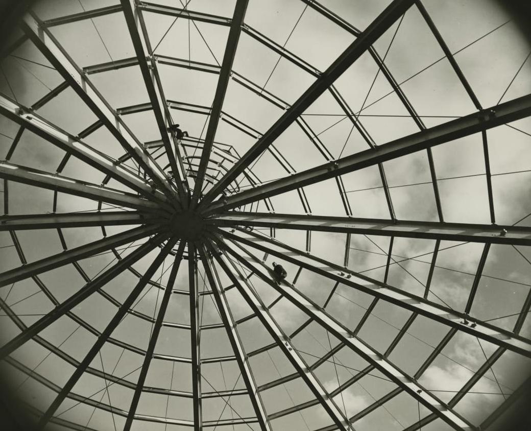 product development interior steel beam glass dome