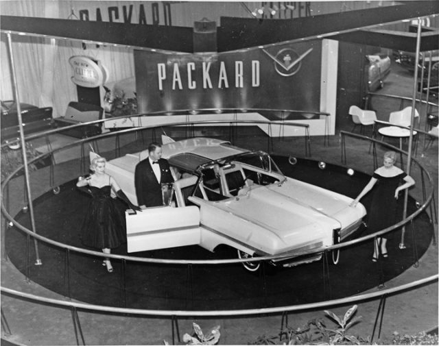 packard predictor car front three-quarter on showroom turnstile