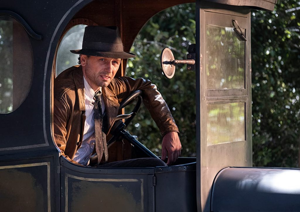 matthew rhys as perry mason in ford model t milk truck